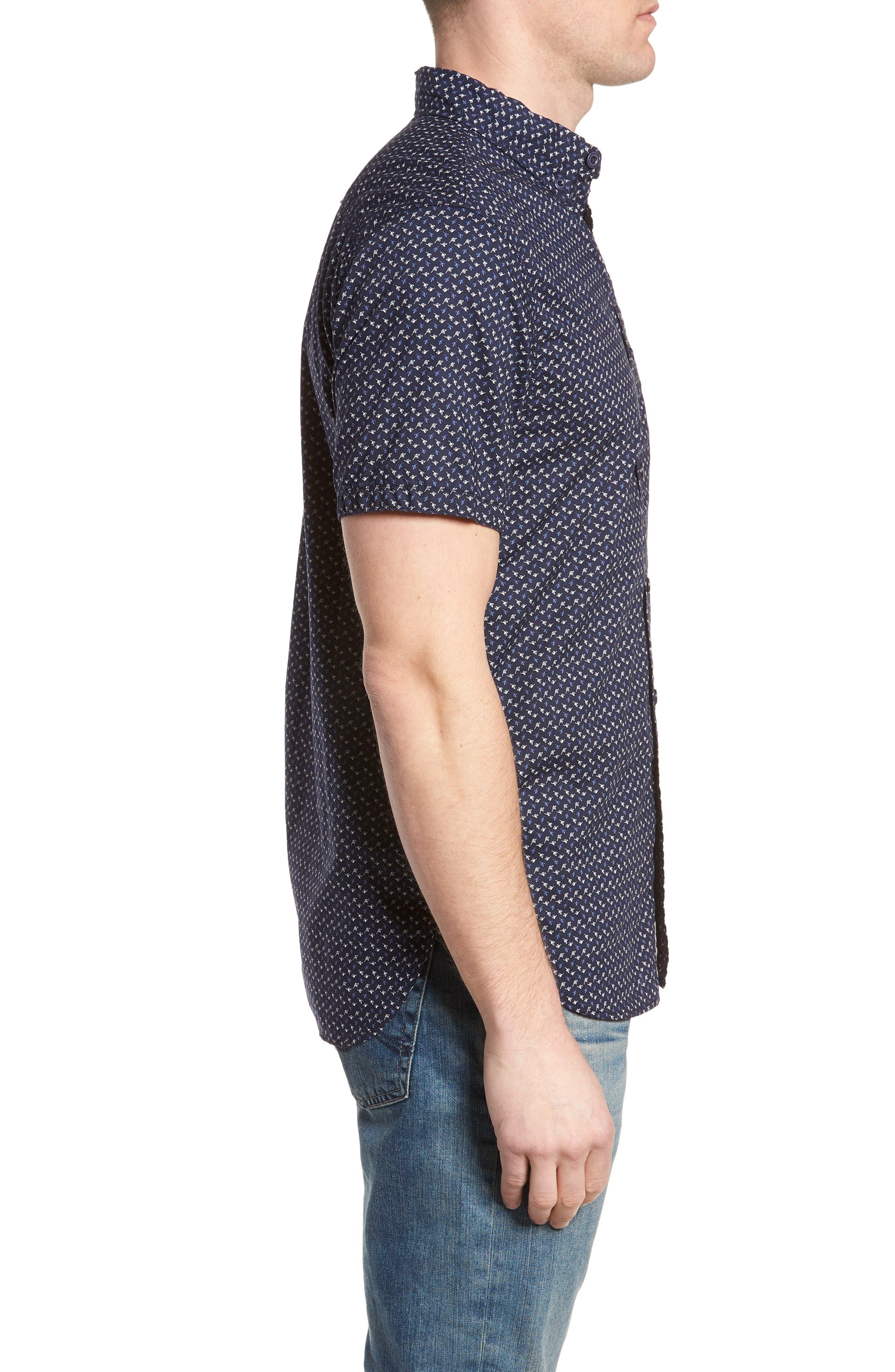 Truman Slim Fit Short Sleeve Sport Shirt,                             Alternate thumbnail 3, color,                             NAVY