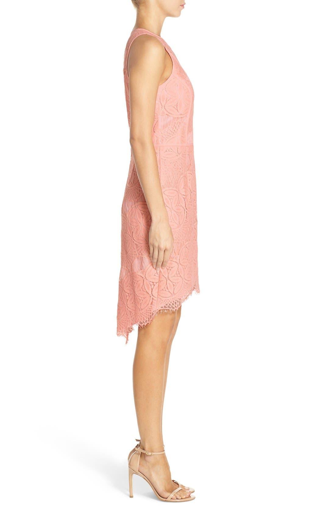 Lace High/Low Sheath Dress,                             Alternate thumbnail 34, color,