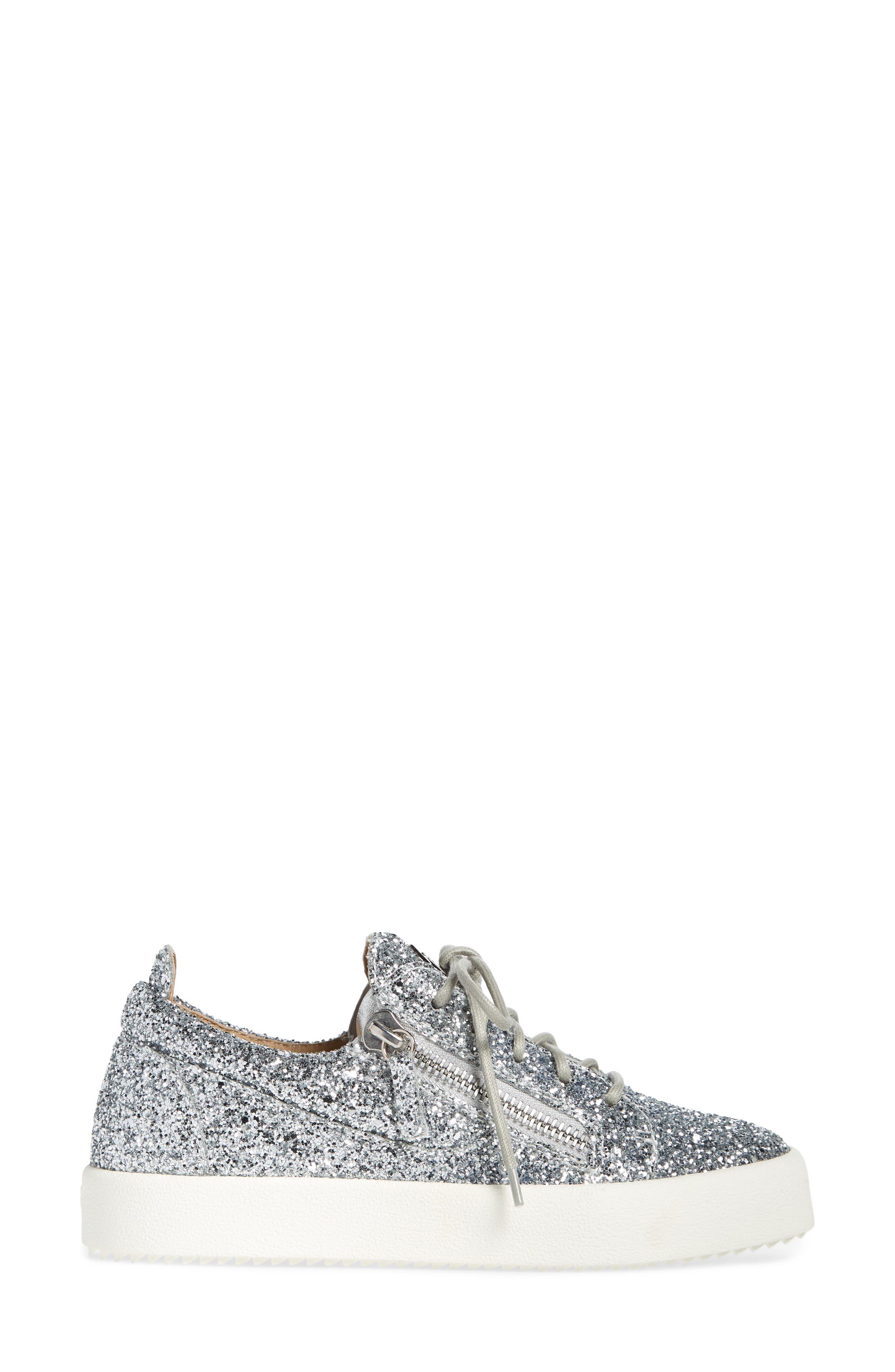 May London Low Top Sneaker,                             Alternate thumbnail 3, color,                             SILVER GLITTER