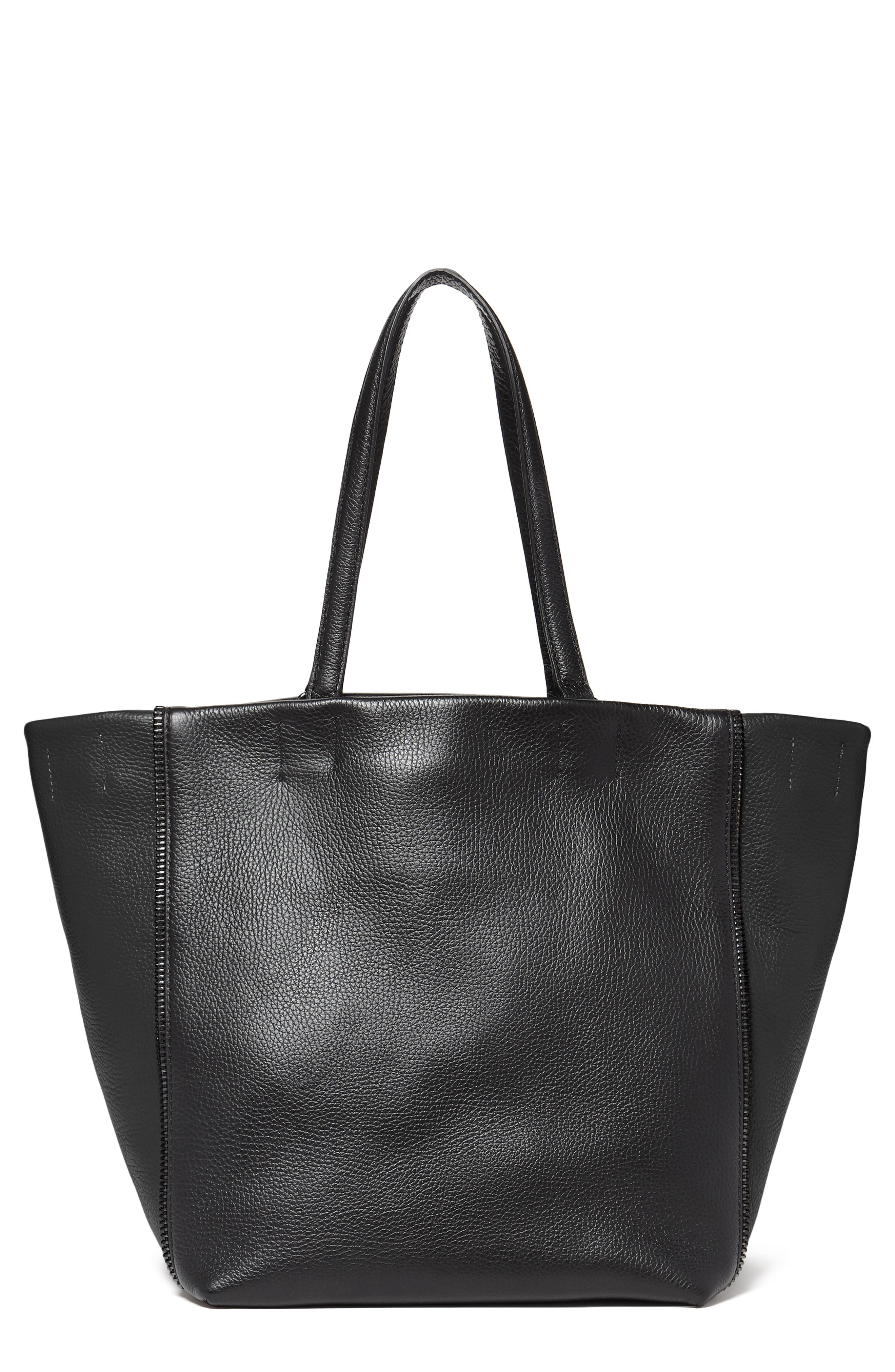Larger Wooster Leather Tote,                             Main thumbnail 1, color,                             BLACK