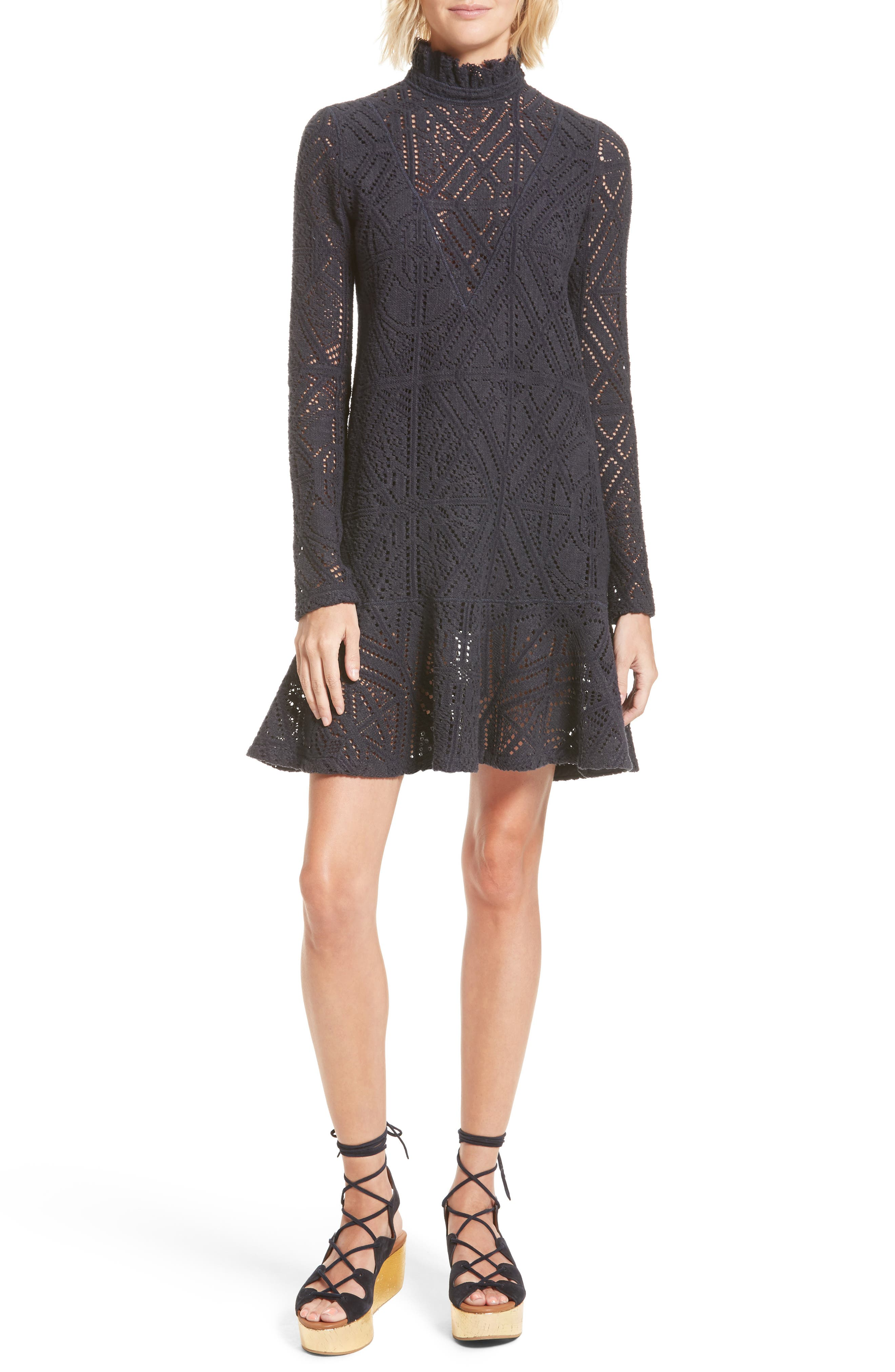 Lace Ruffle Hem Minidress,                             Main thumbnail 1, color,                             401