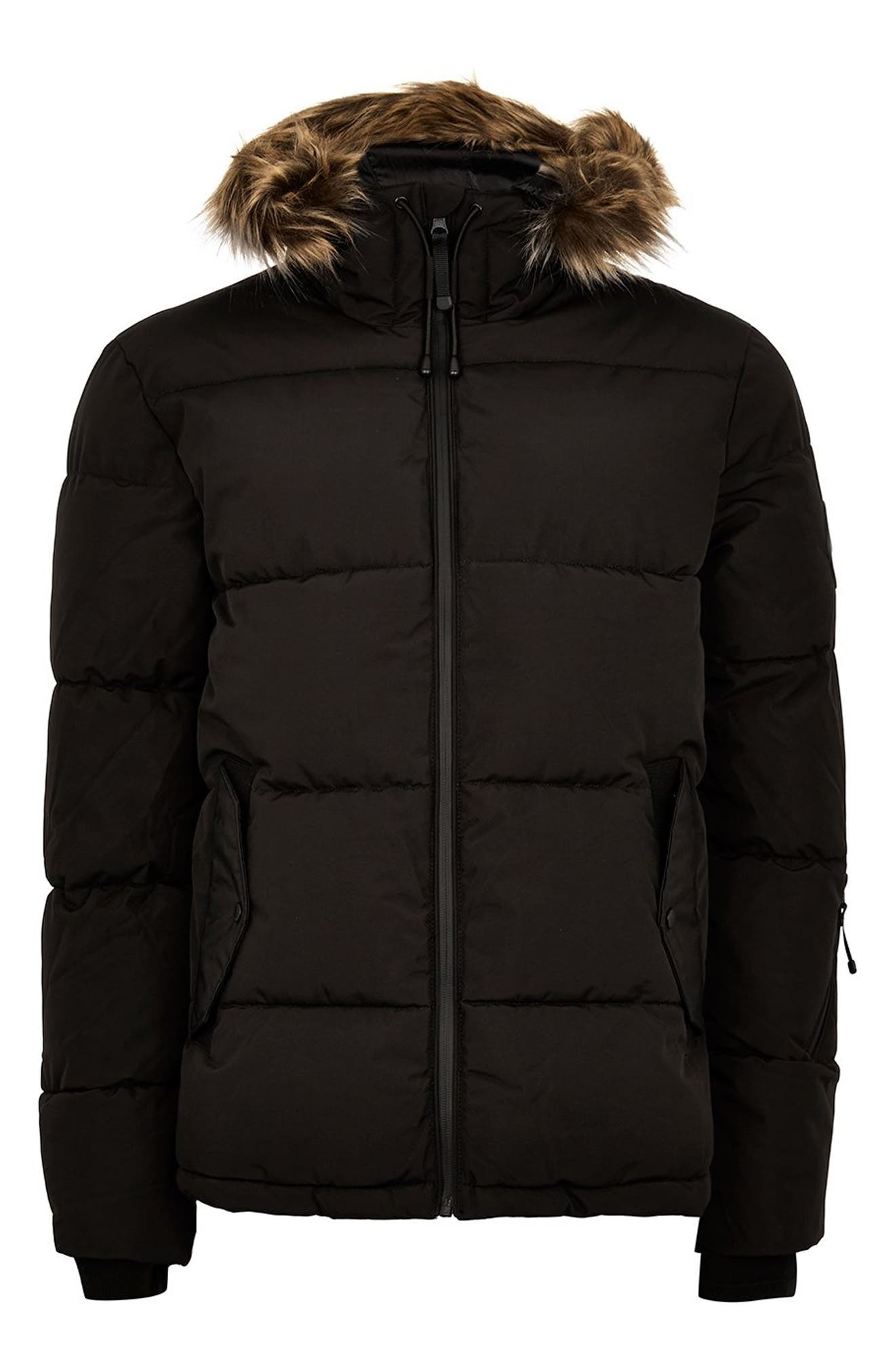 Marling Faux Fur Collar Puffer Jacket,                             Alternate thumbnail 6, color,                             BLACK