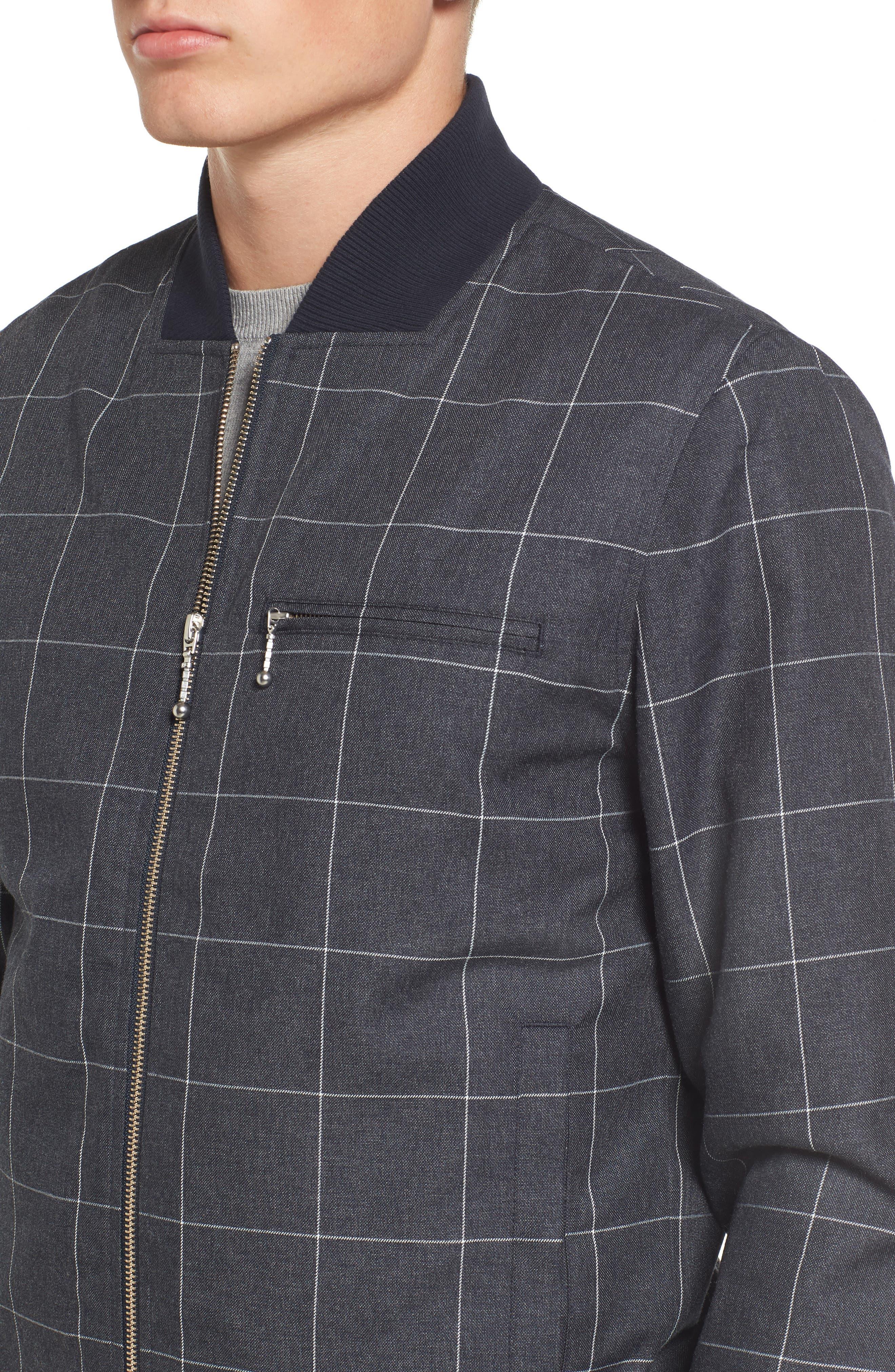 Check Flannel Bomber Jacket,                             Alternate thumbnail 4, color,                             419