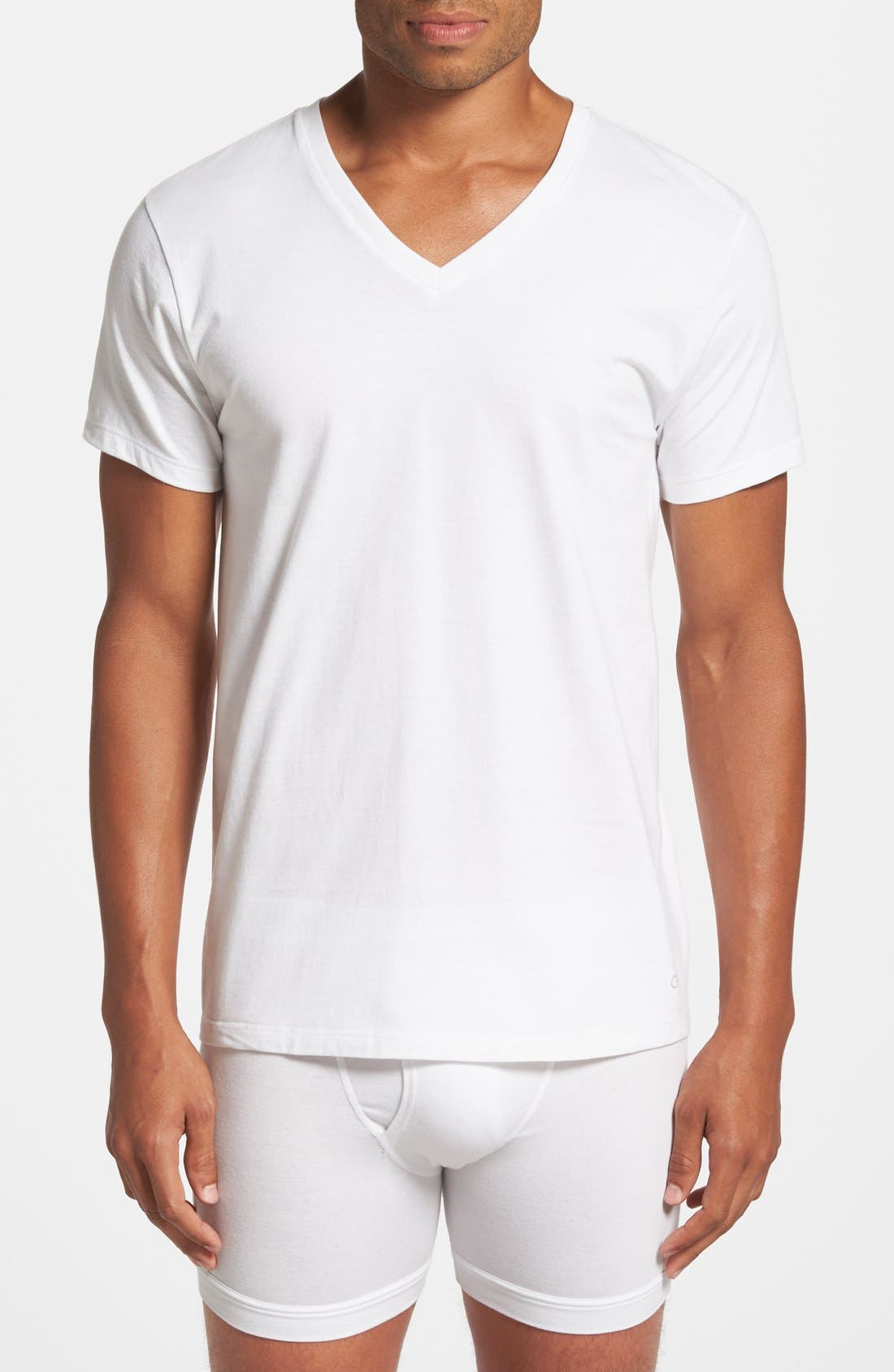 2-Pack Cotton T-Shirt,                         Main,                         color, WHITE