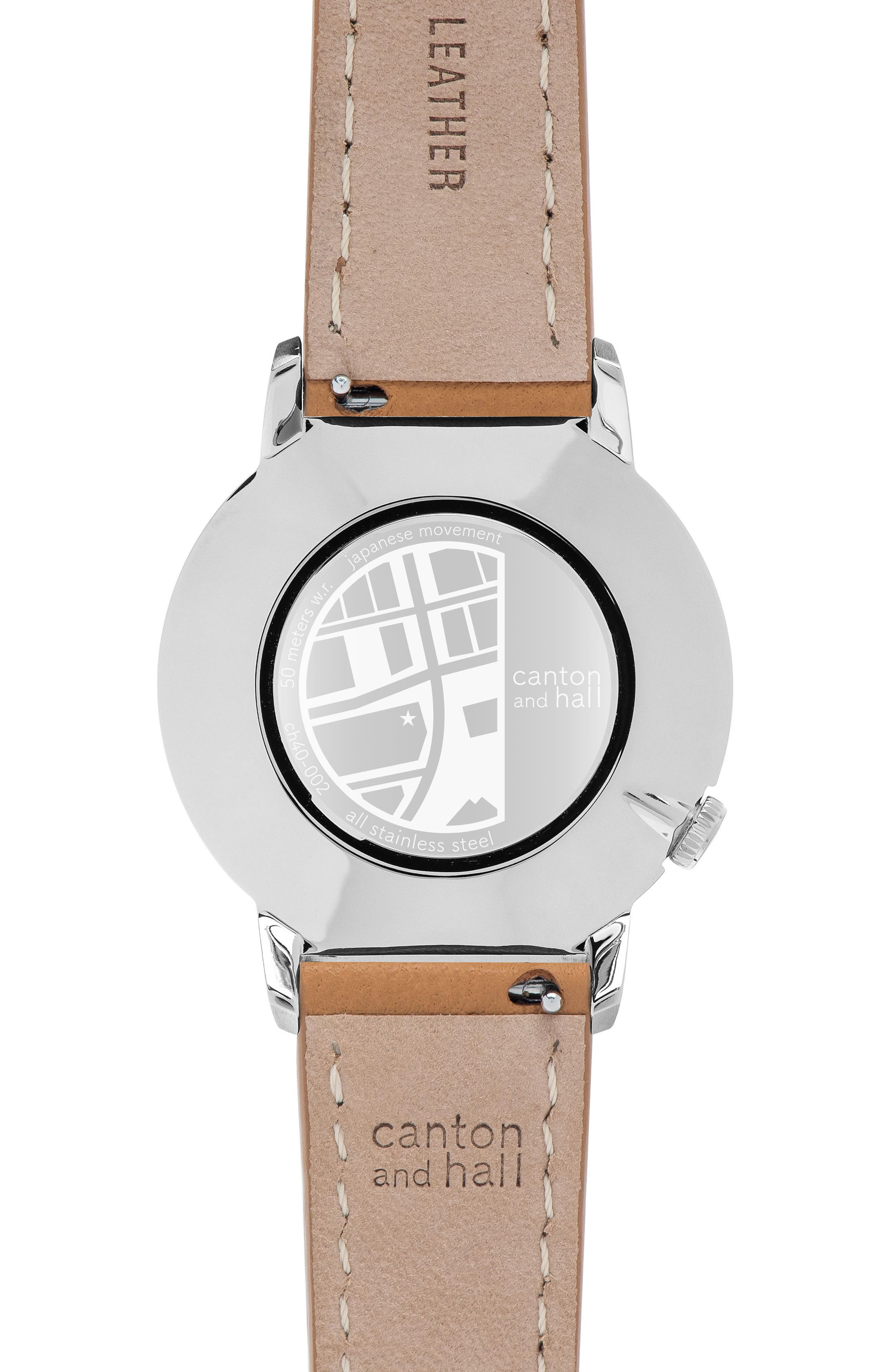 Leather Strap Watch, 40mm,                             Alternate thumbnail 2, color,                             200