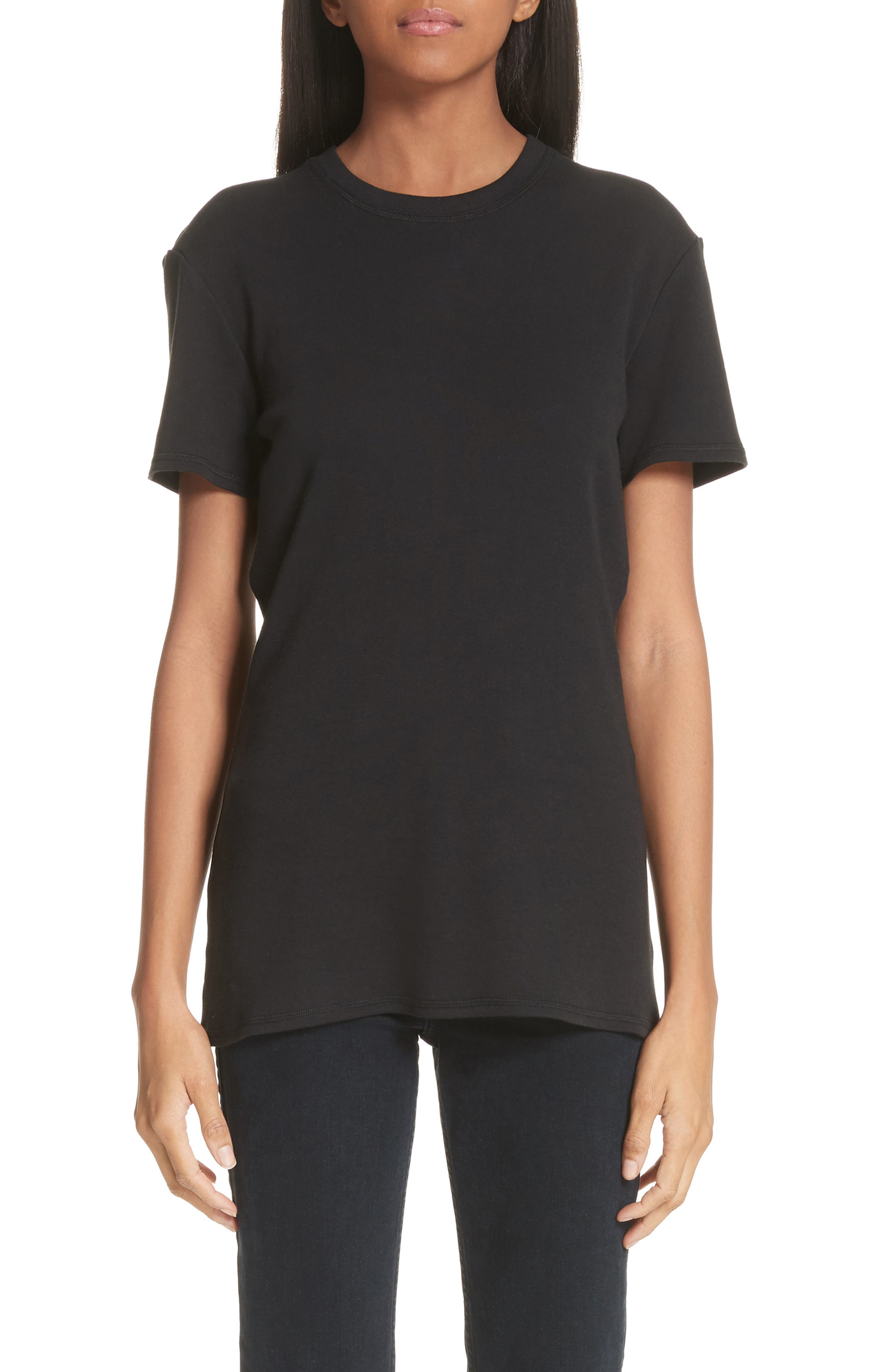 PSWL Button Back Tee,                         Main,                         color, BLACK