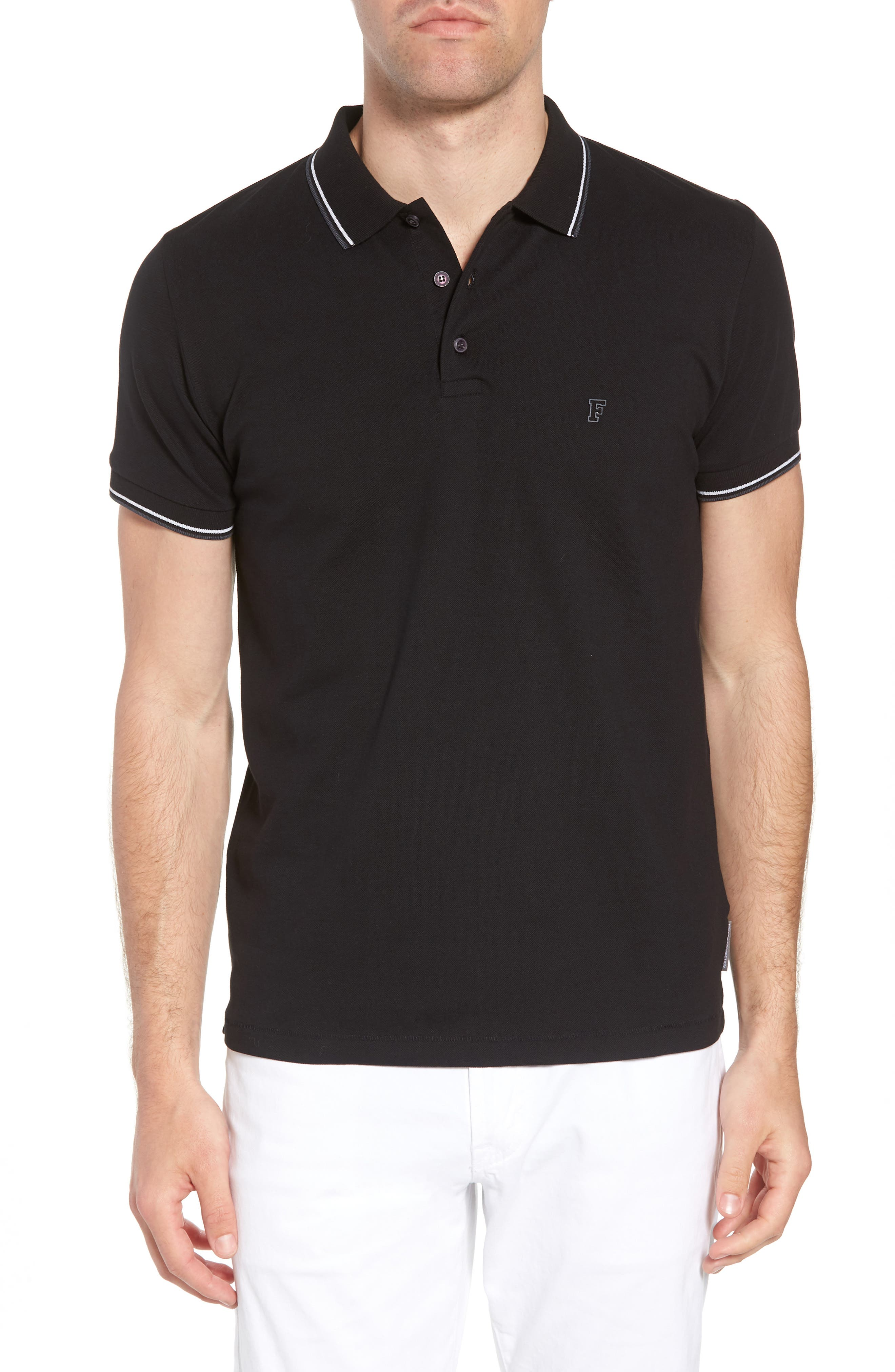 Cotton Polo Shirt,                         Main,                         color, BLACK
