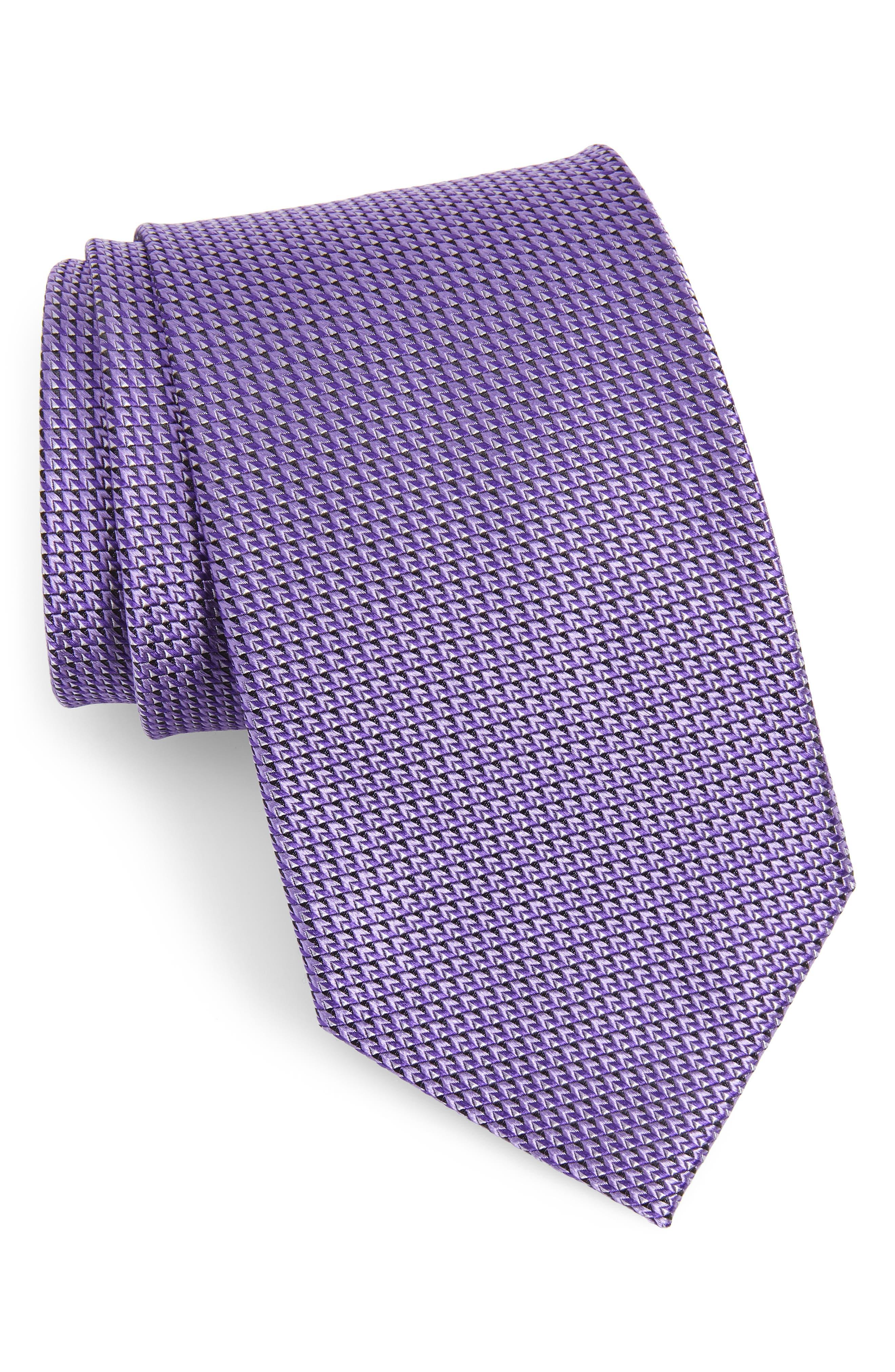 Solid Silk X-Long Tie, Main, color, PURPLE