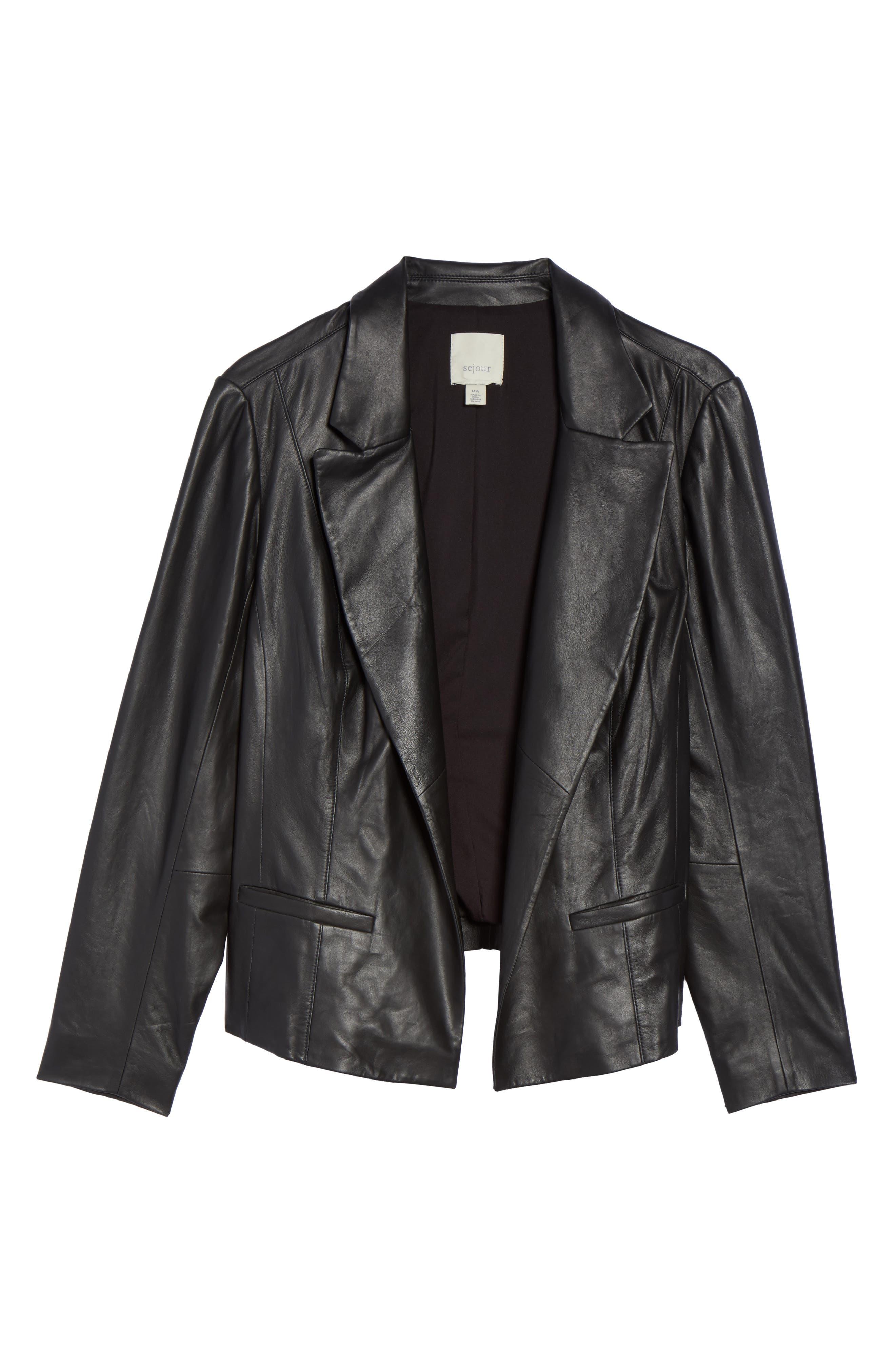 Leather Blazer,                             Alternate thumbnail 5, color,                             001