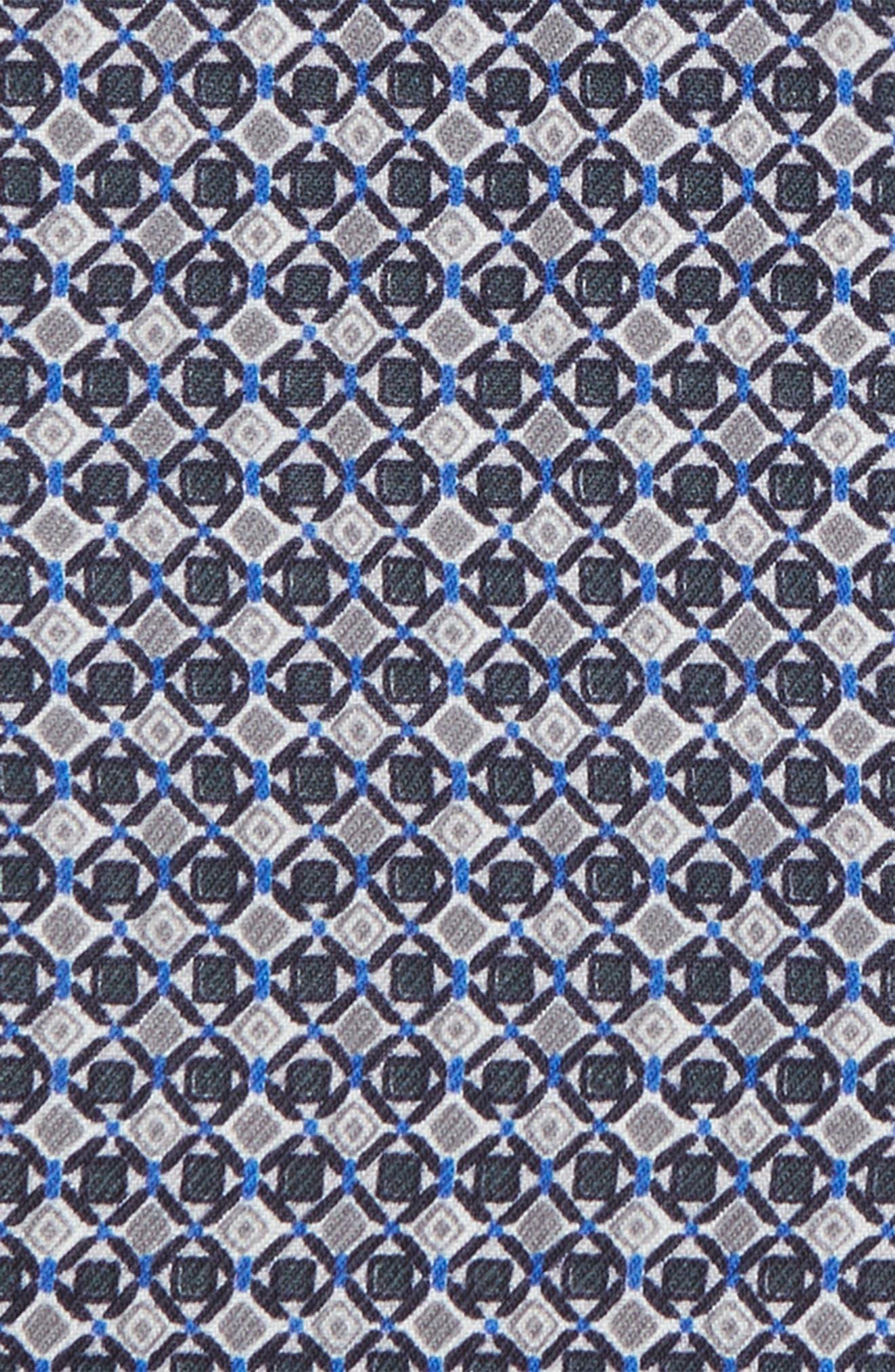 Geometric Wool & Silk Pocket Square,                             Alternate thumbnail 3, color,                             CHARCOAL
