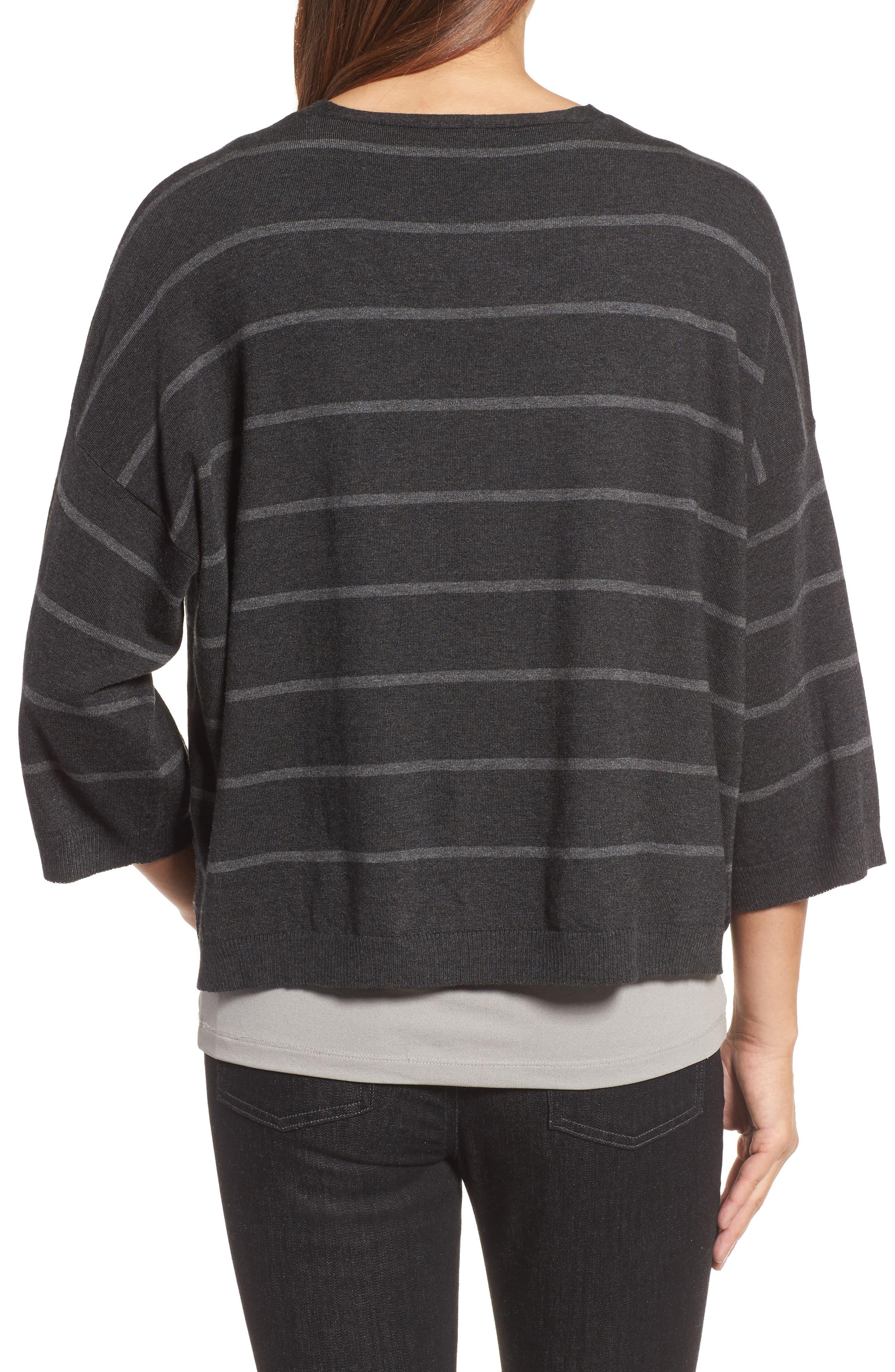 Stripe Tencel<sup>®</sup> Blend Crop Sweater,                             Alternate thumbnail 2, color,                             064