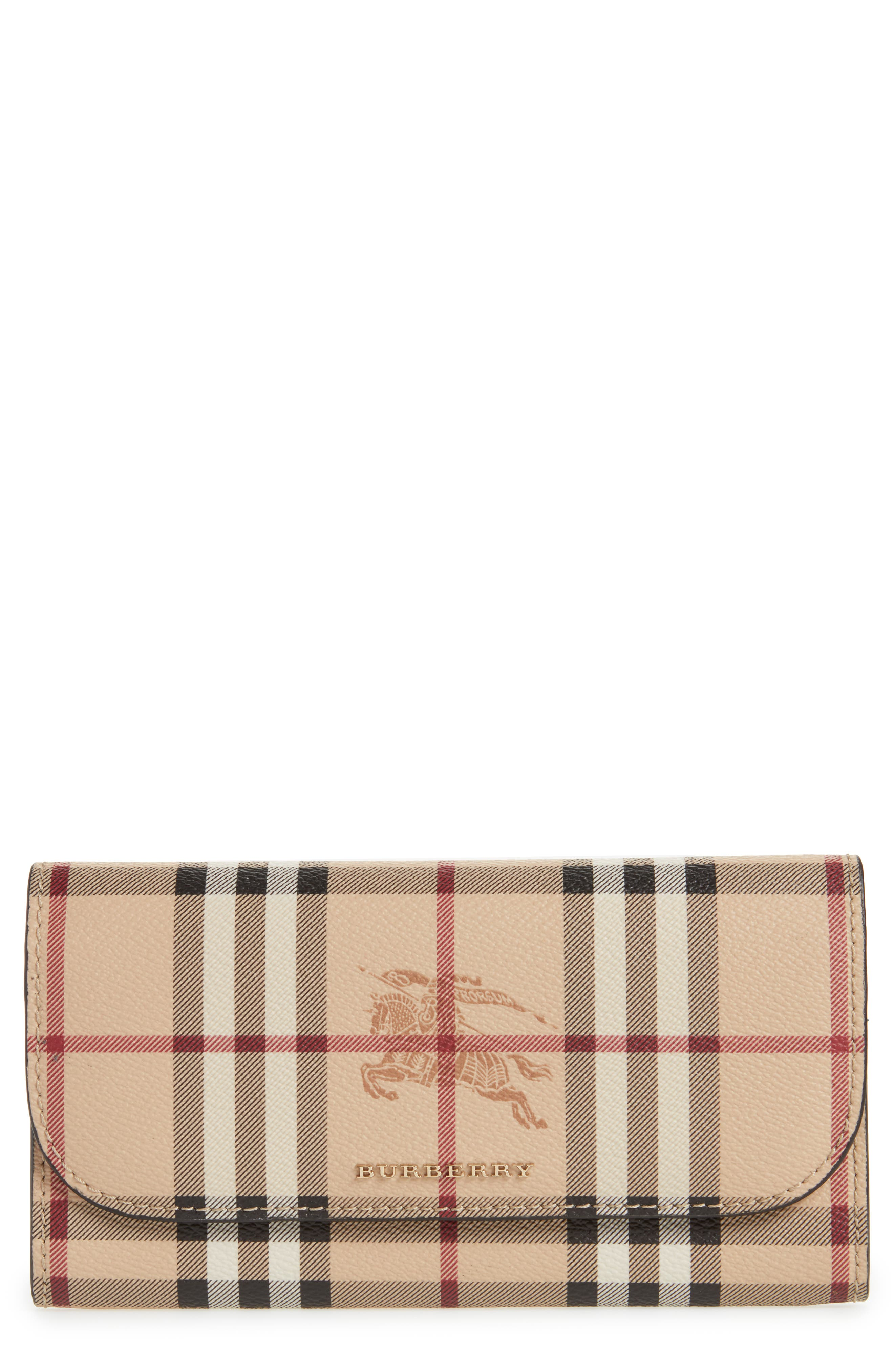 Harris Check Faux Leather Wallet,                         Main,                         color,