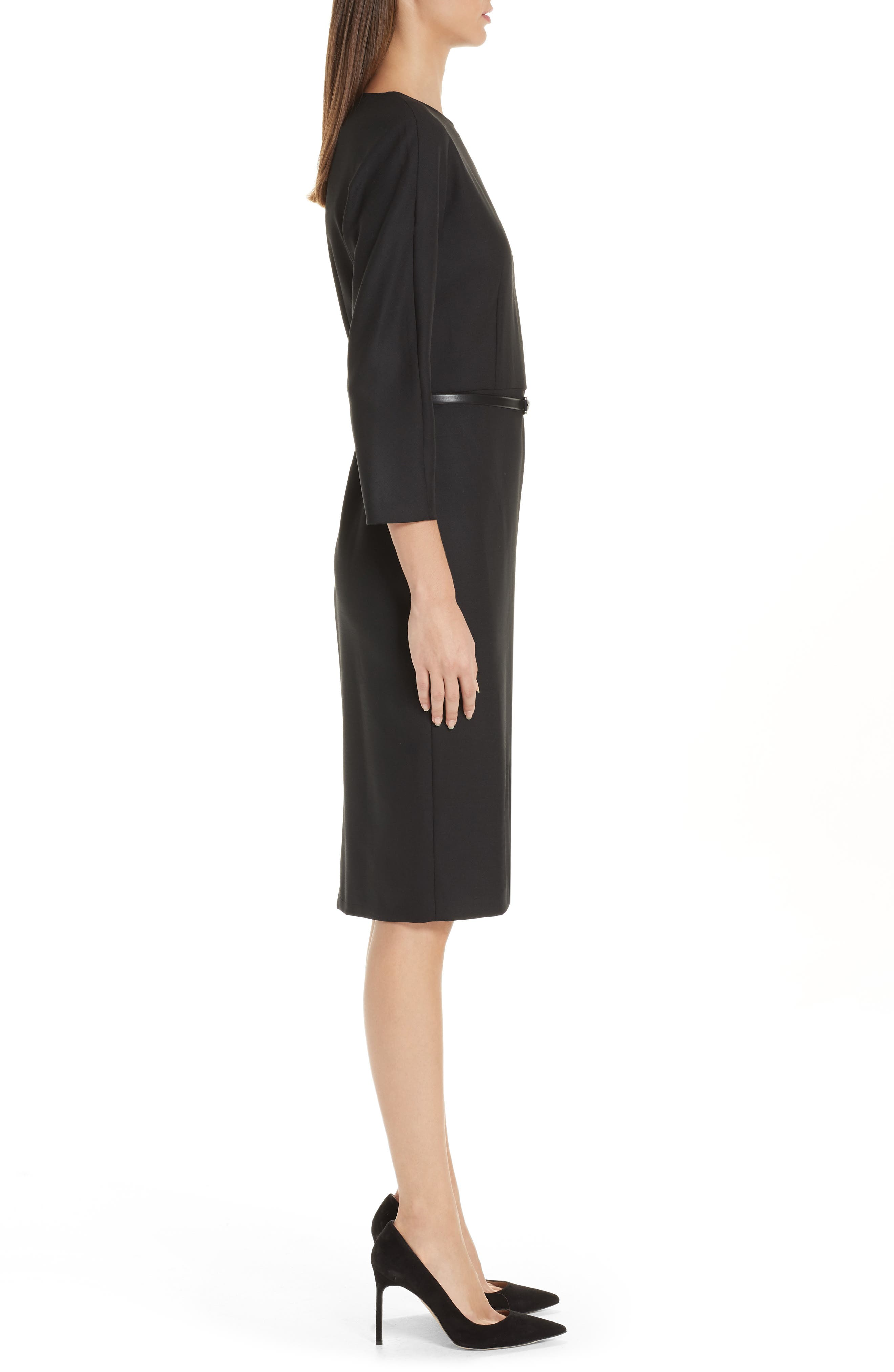MAX MARA,                             Karub Belted Stretch Wool Dress,                             Alternate thumbnail 3, color,                             001