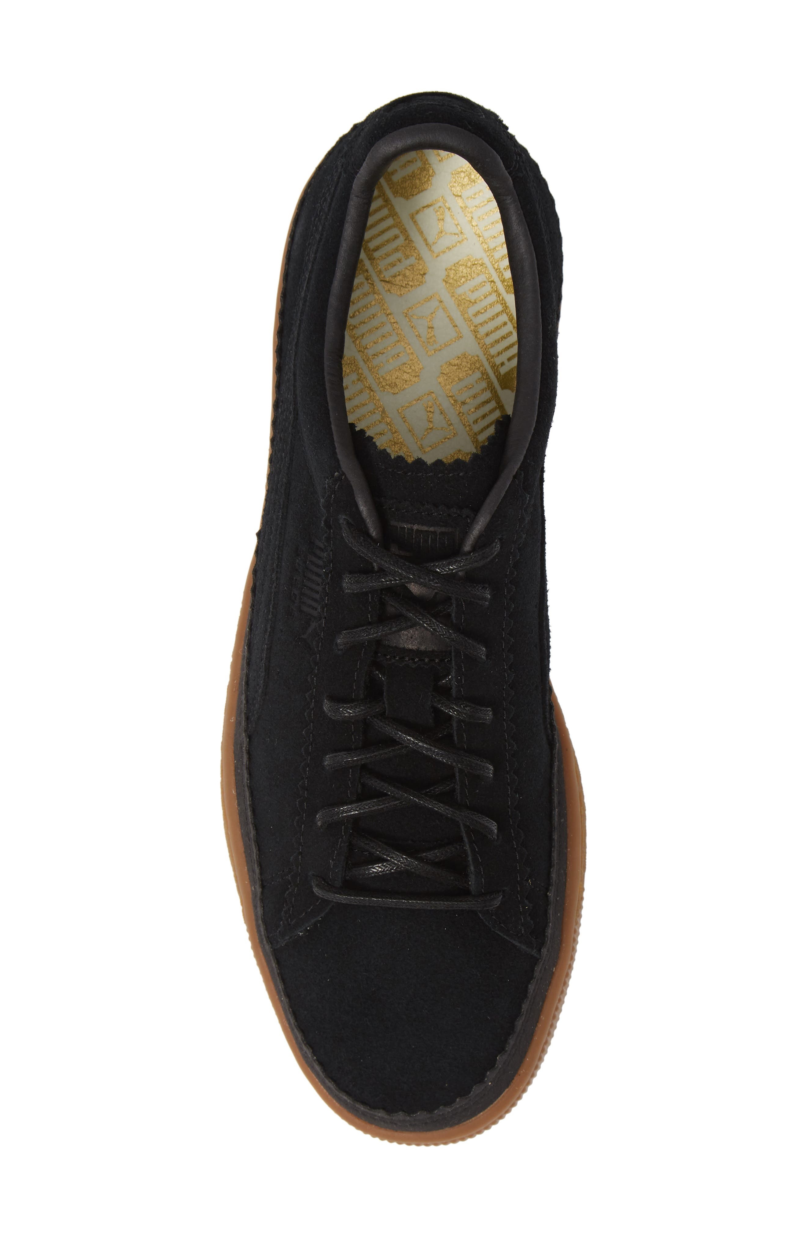 Suede Sneaker,                             Alternate thumbnail 5, color,                             BLACK/ BLACK