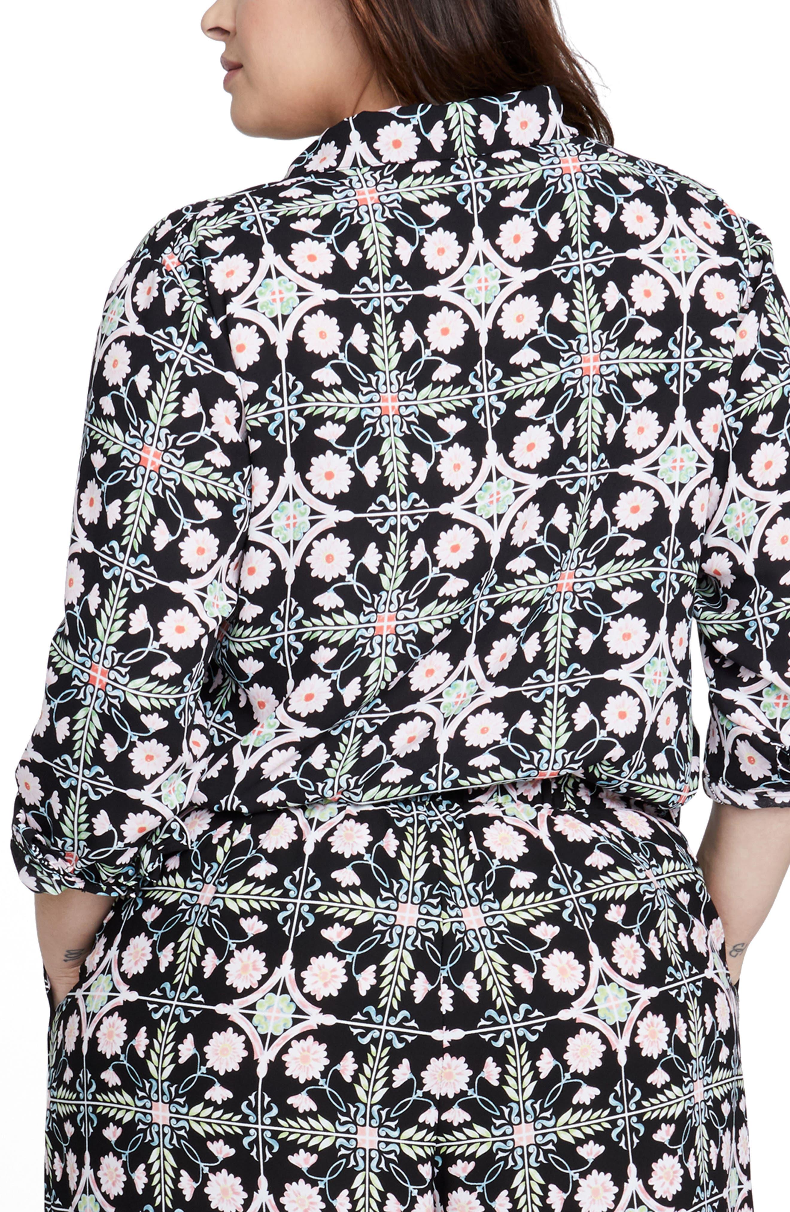 Rachel Roy Tile Print Shirt,                             Alternate thumbnail 2, color,                             BLACK COMBO
