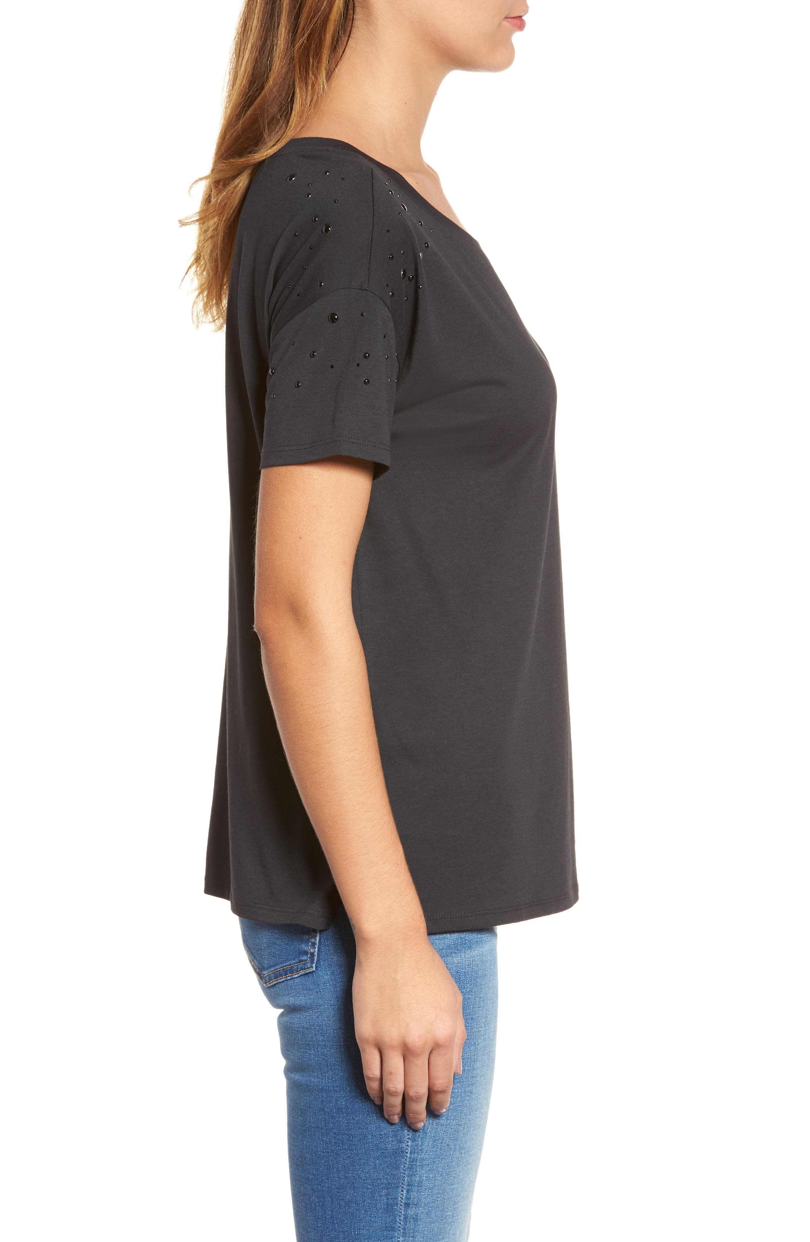 Short Sleeve Pearly T-Shirt,                             Alternate thumbnail 3, color,