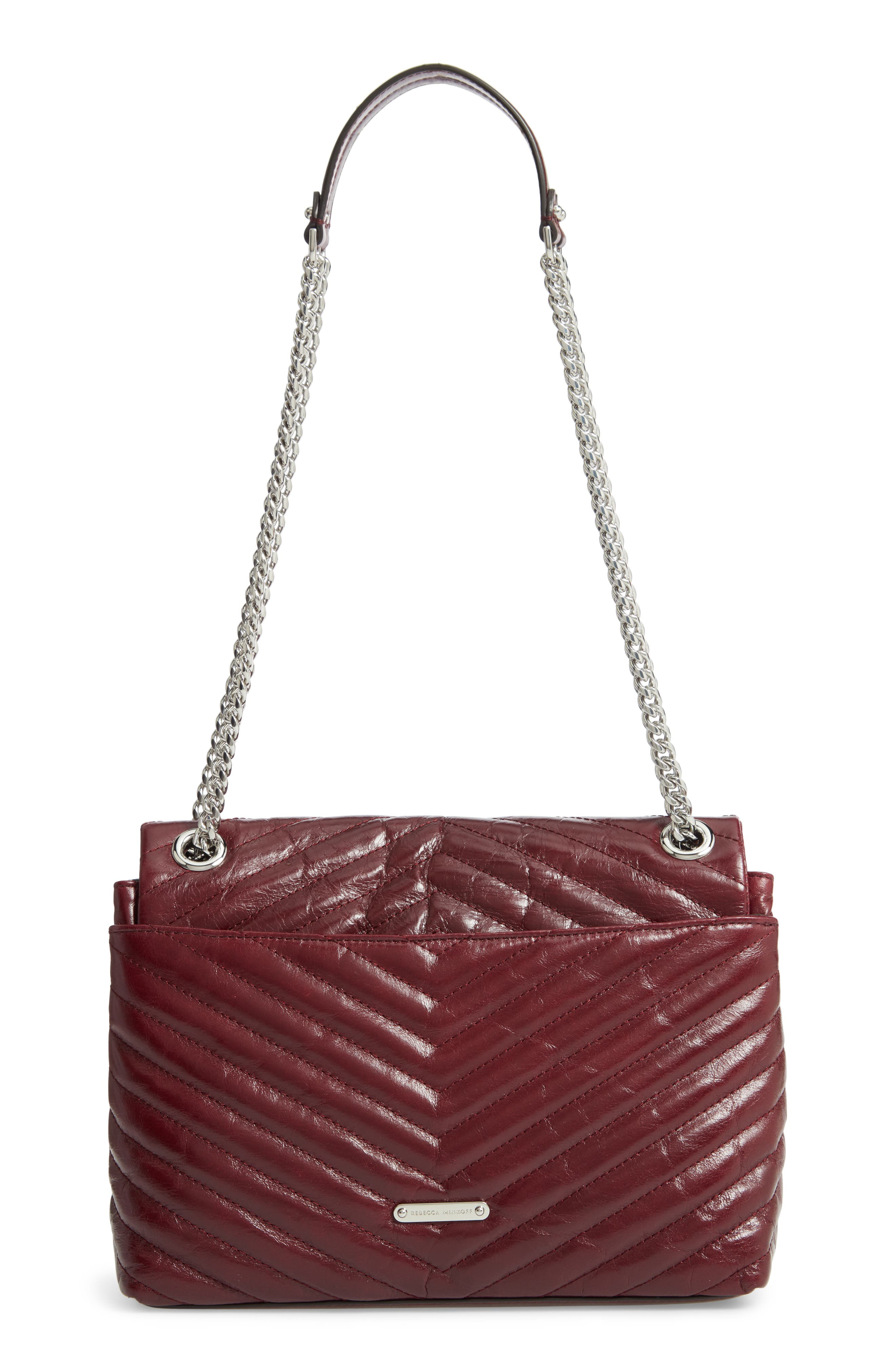 Edie Flap Front Leather Shoulder Bag,                             Alternate thumbnail 3, color,                             BORDEAUX