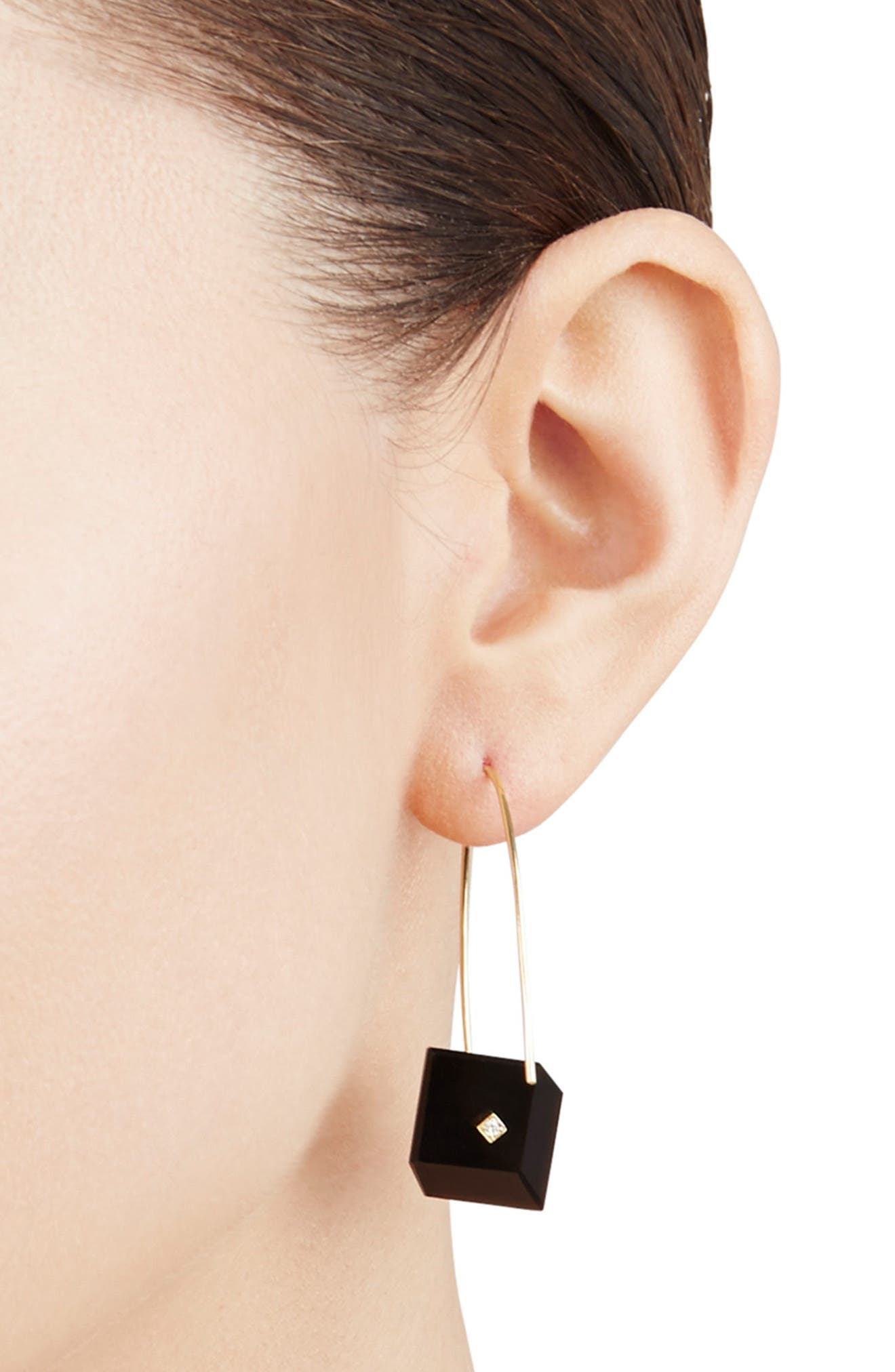 Reverse Fit Diamond Square Earrings,                             Alternate thumbnail 2, color,                             ONYX