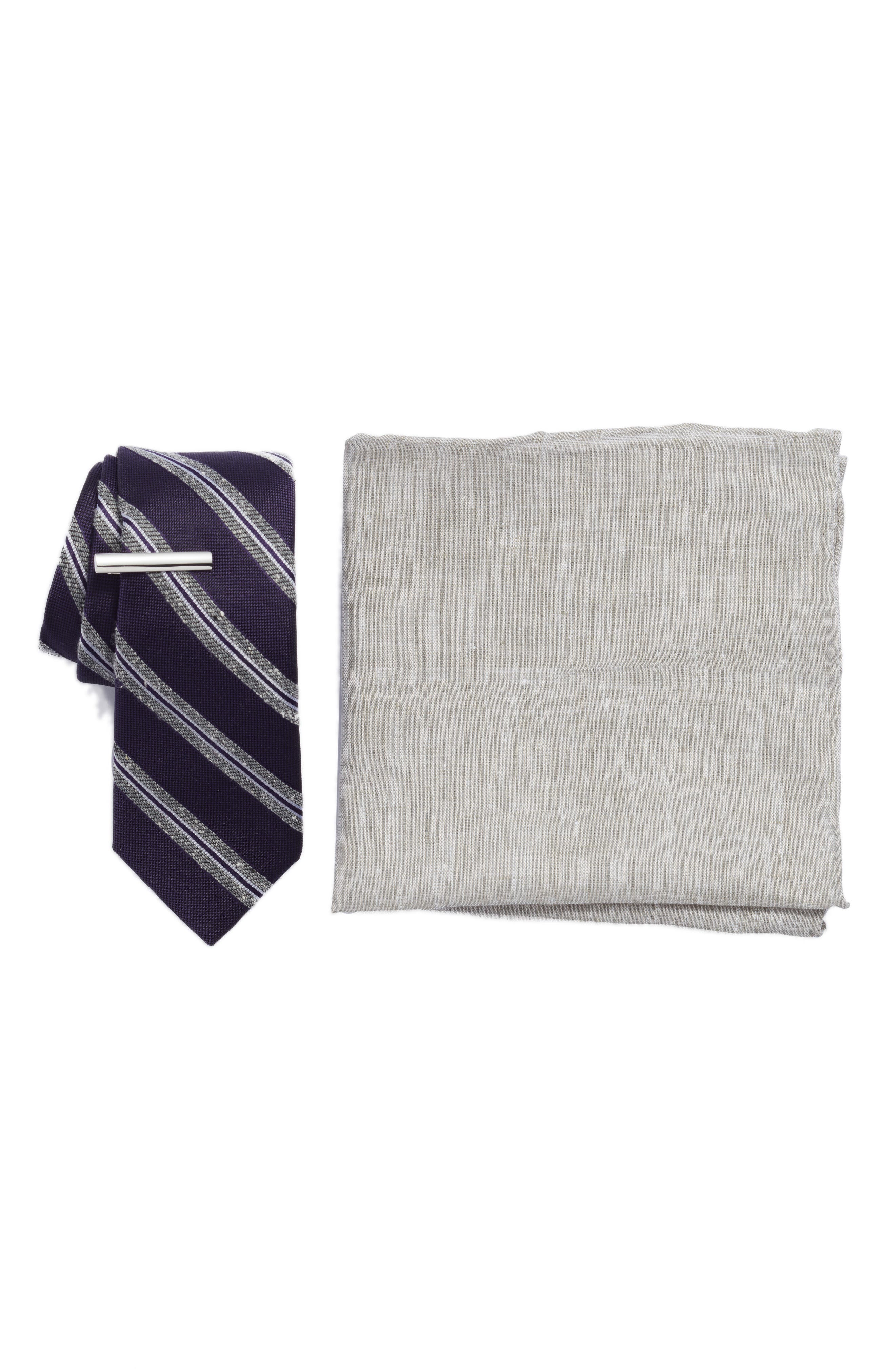 Edison Stripe 3-Piece Skinny Tie Style Box,                             Main thumbnail 1, color,                             EGGPLANT