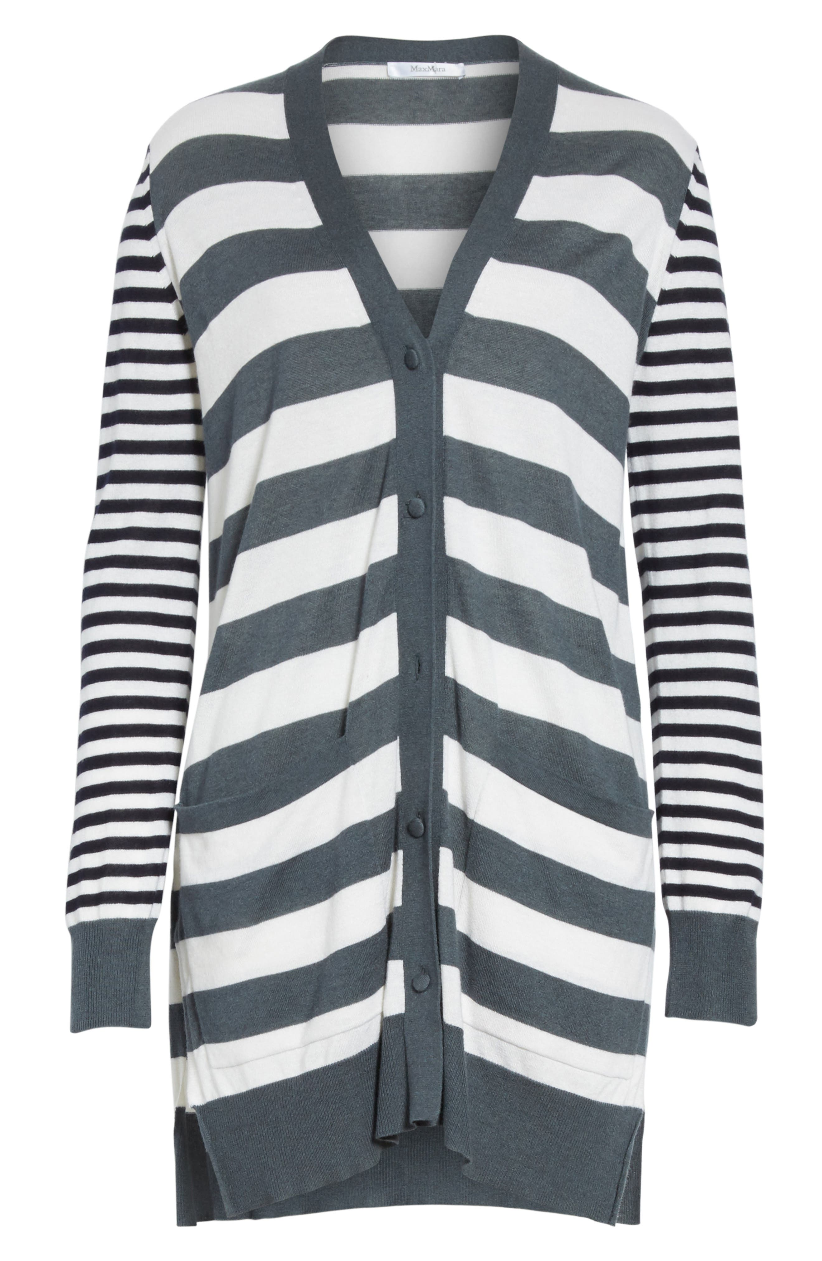 Etiopia Stripe Silk & Cashmere Cardigan,                             Alternate thumbnail 6, color,                             054