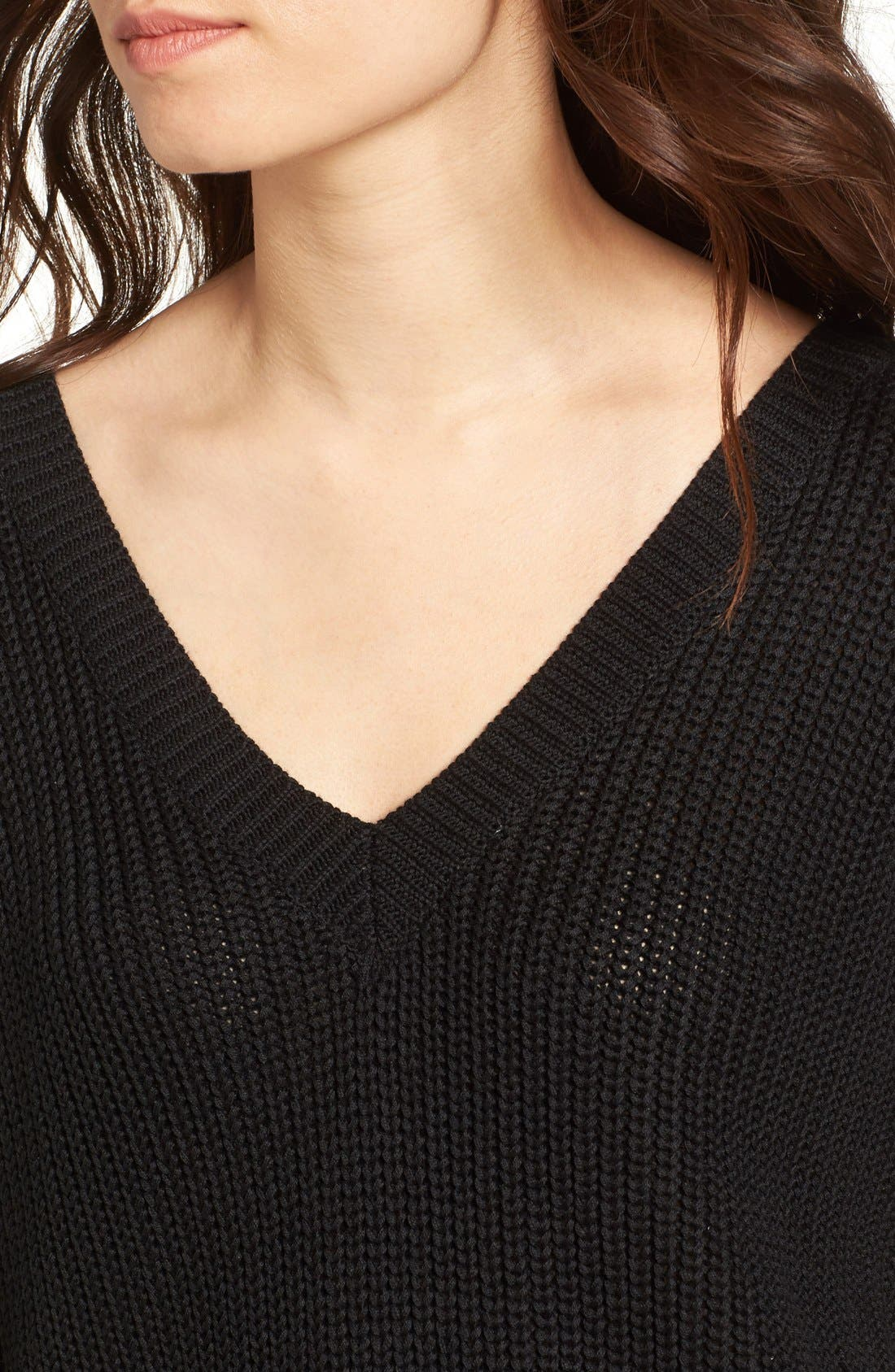 Lace-Up Back Sweater,                             Alternate thumbnail 2, color,                             001