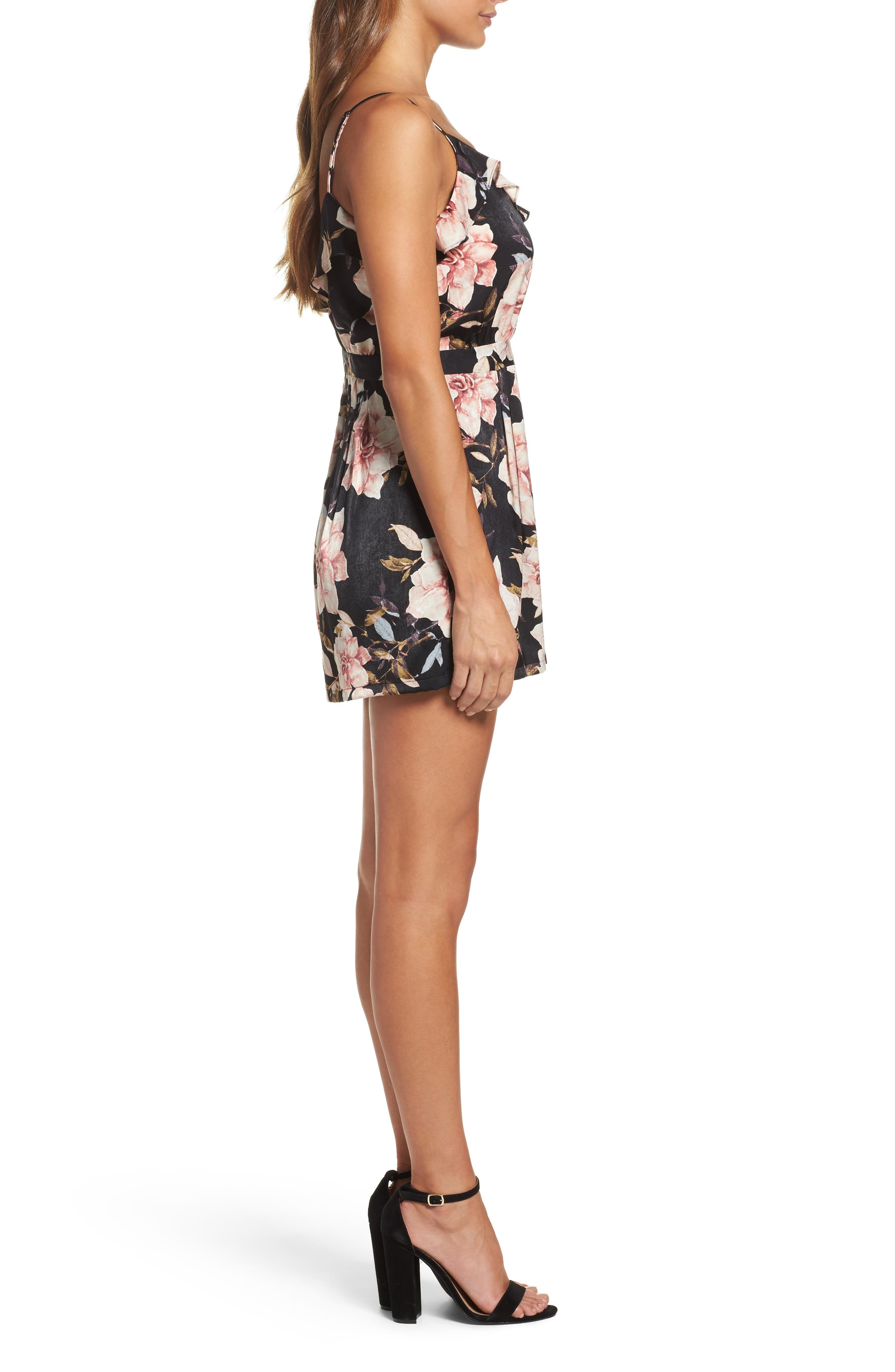Floral Satin Romper,                             Alternate thumbnail 3, color,