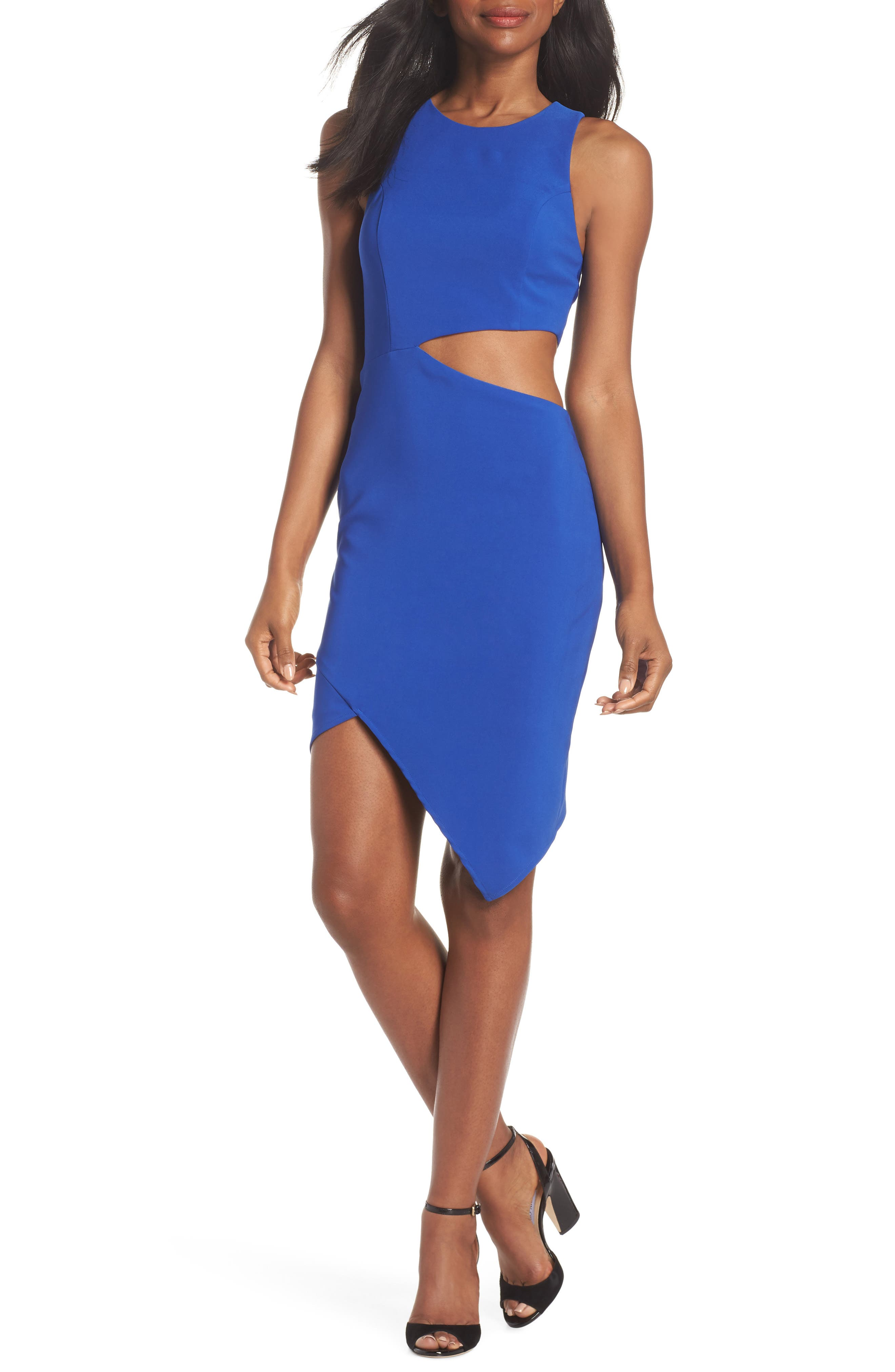 Taylor Racer Cutout Asymmetrical Dress,                         Main,                         color,