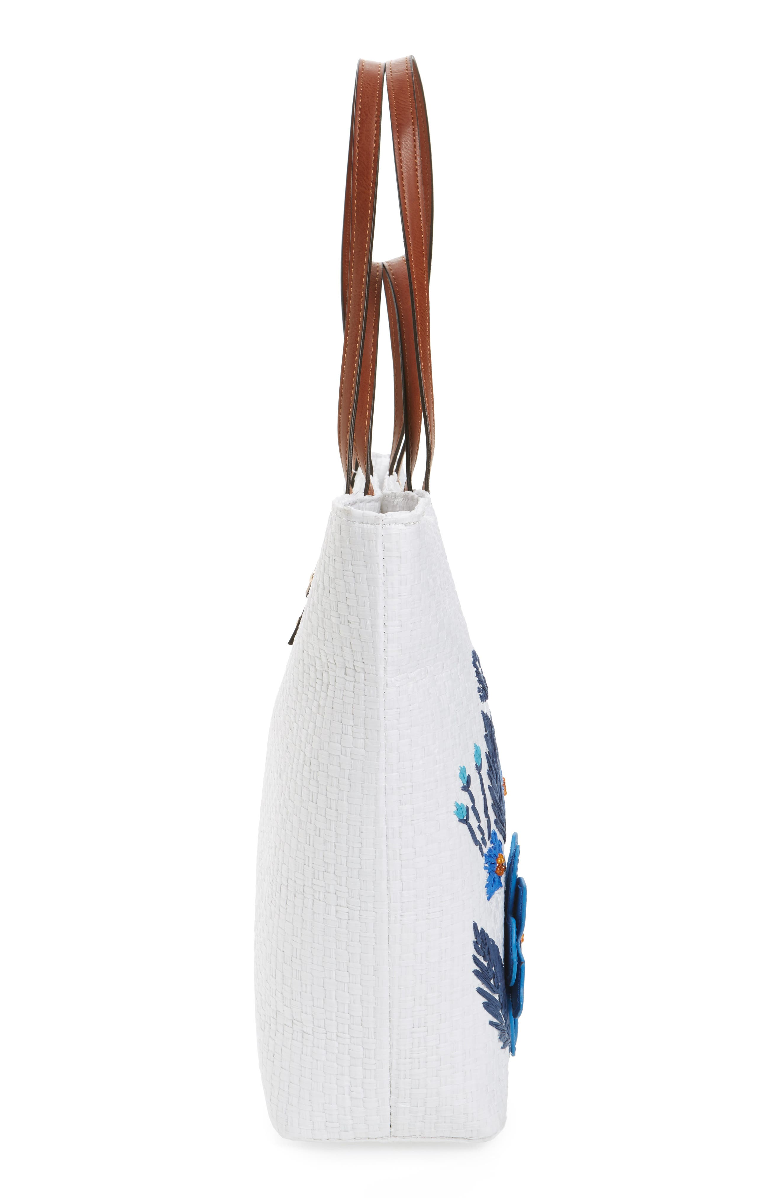 Athen - Seas the Day Embroidered Straw Tote,                             Alternate thumbnail 5, color,                             400