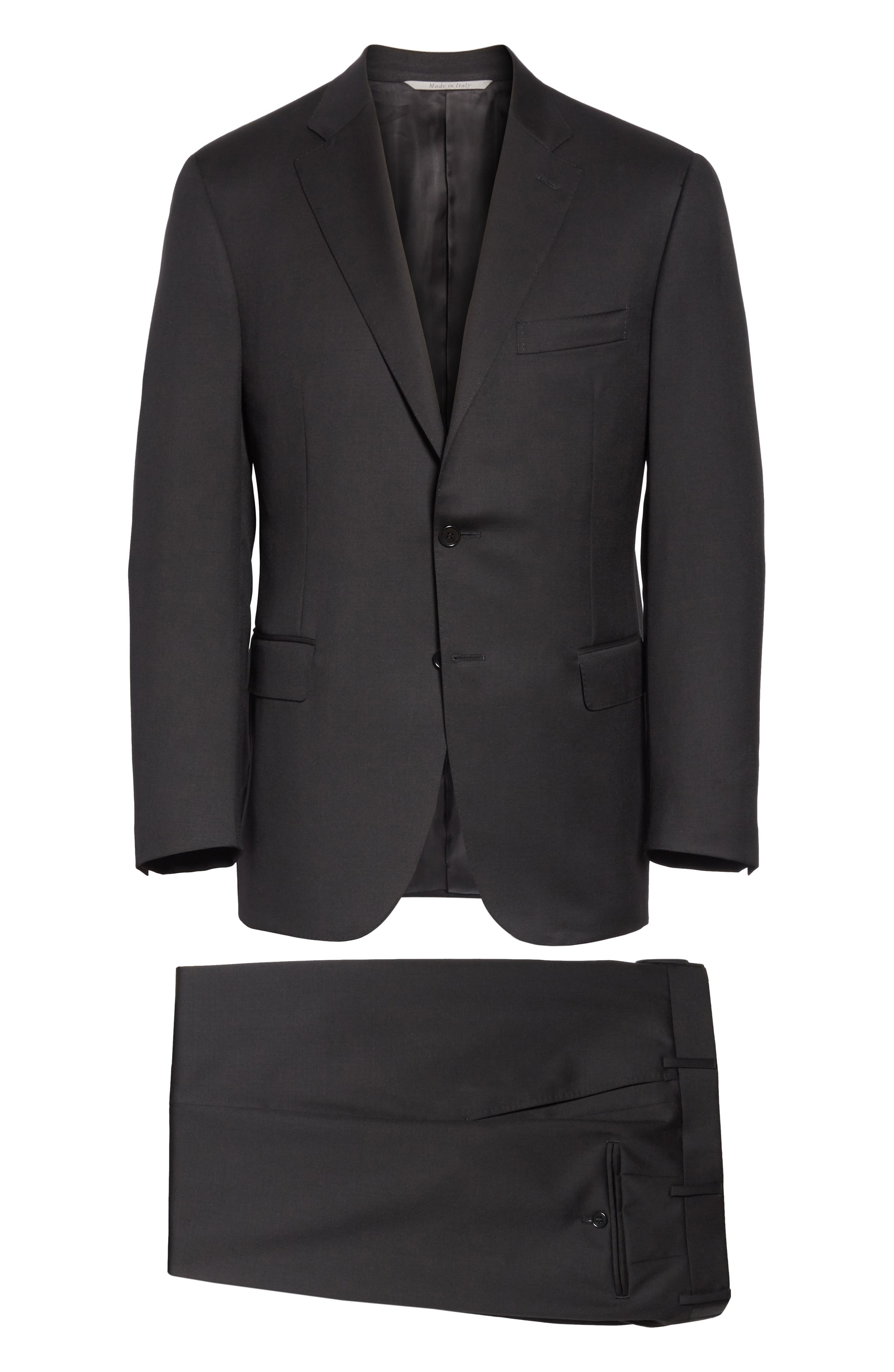 Classic Fit Solid Wool Suit,                             Alternate thumbnail 8, color,                             BLACK
