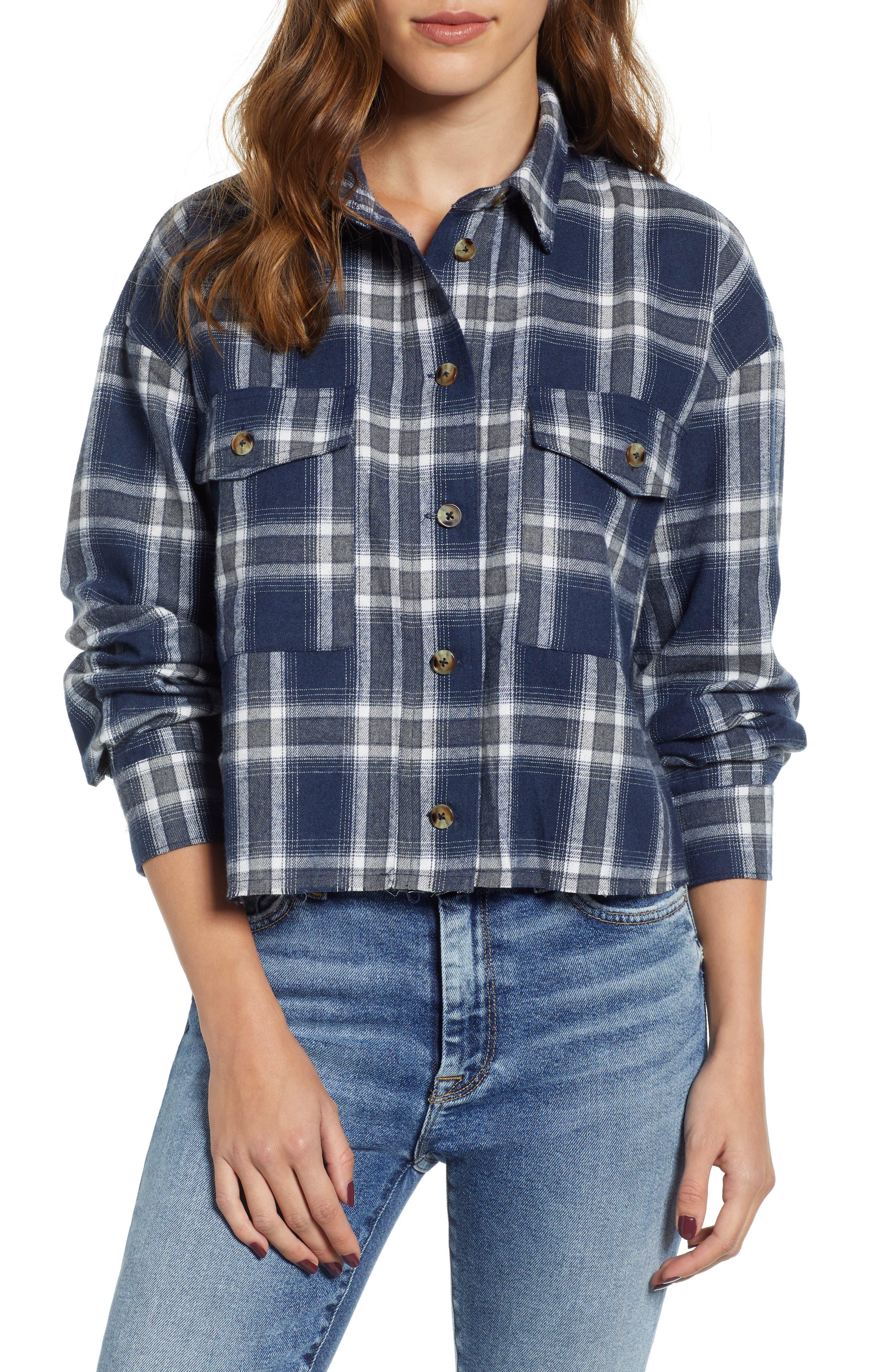 Good Luck Gem Flannel Crop Shirt, Blue
