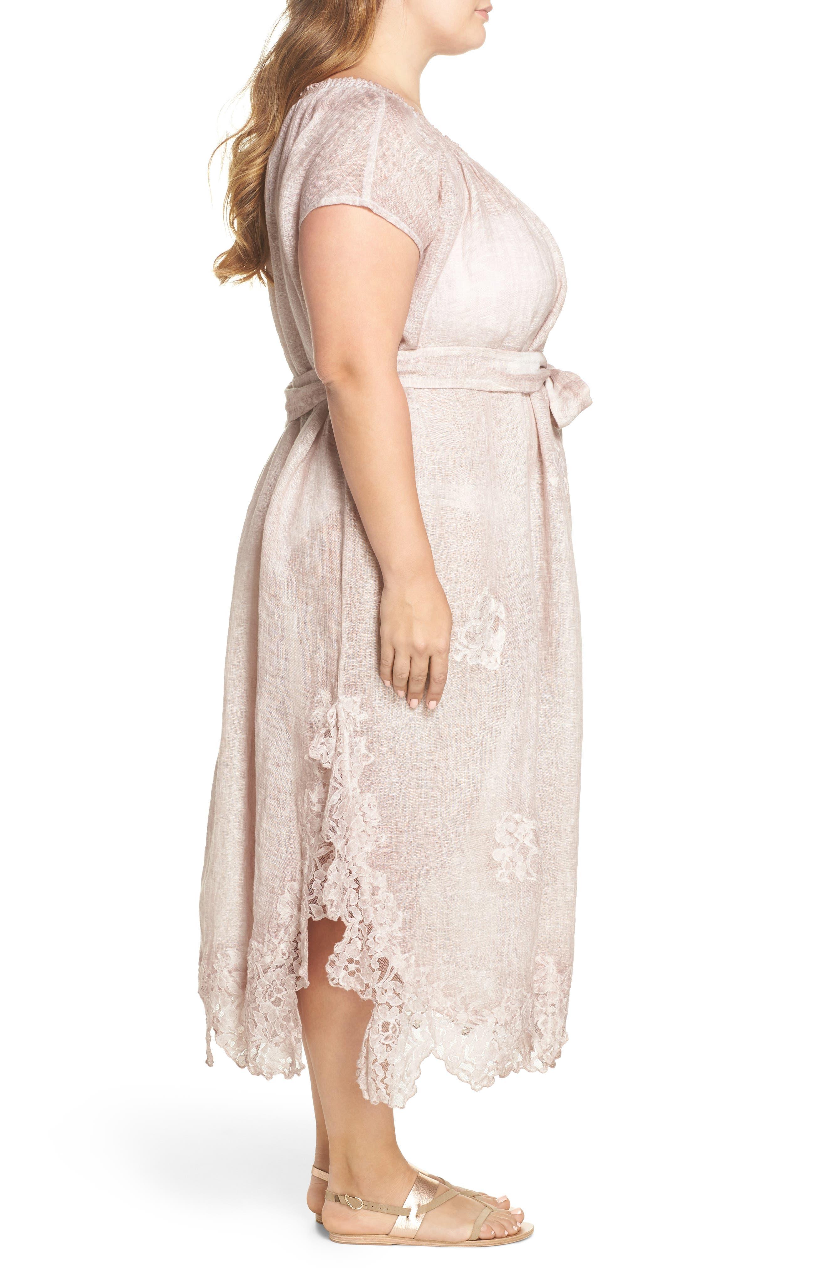 Daisy Linen Cover-Up Dress,                             Alternate thumbnail 3, color,                             652