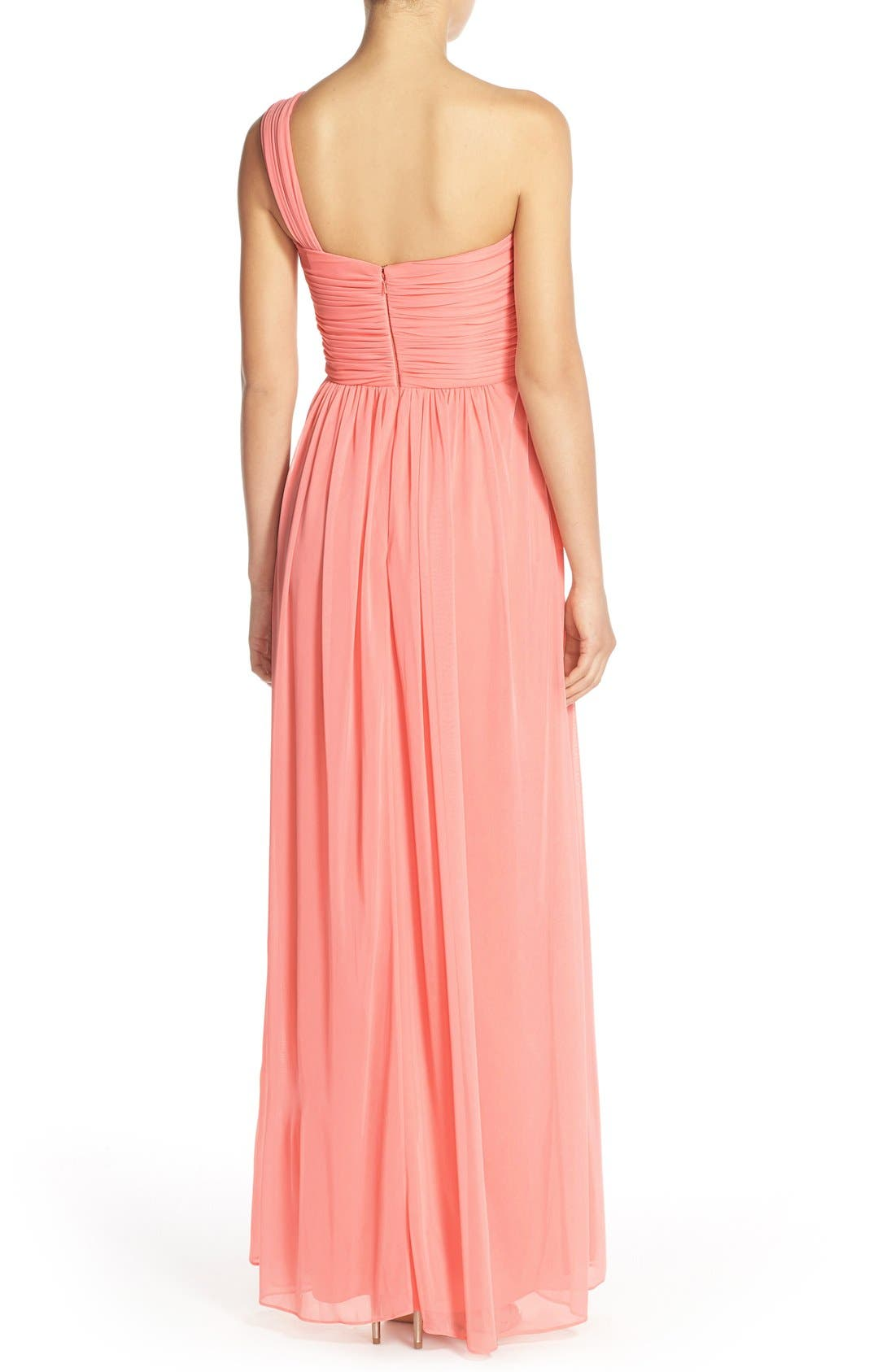 One-Shoulder Shirred Chiffon Gown,                             Alternate thumbnail 2, color,                             633