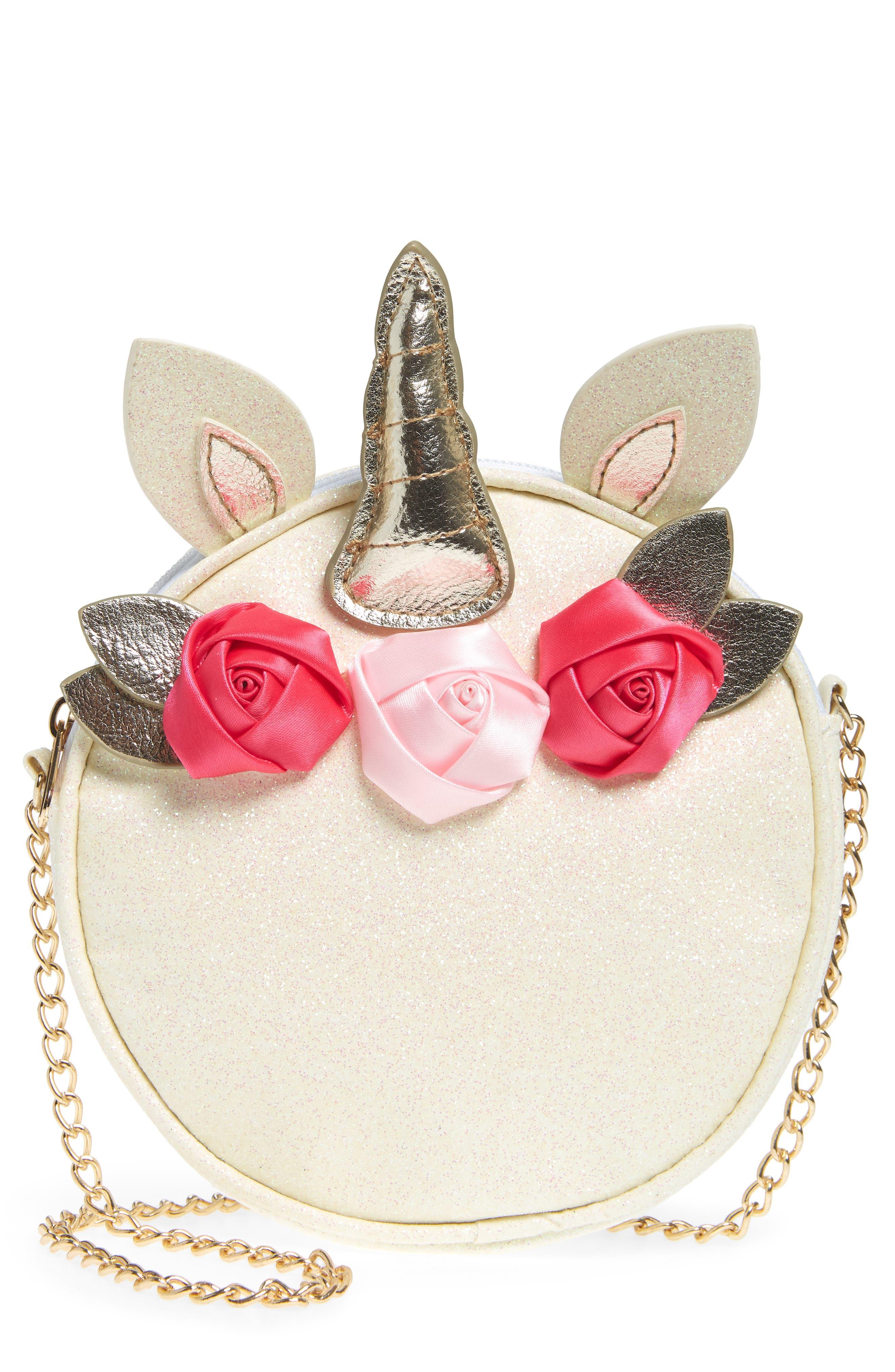 Girls Capelli New York Unicorn With Flowers Faux Leather Crossbody Bag  Metallic