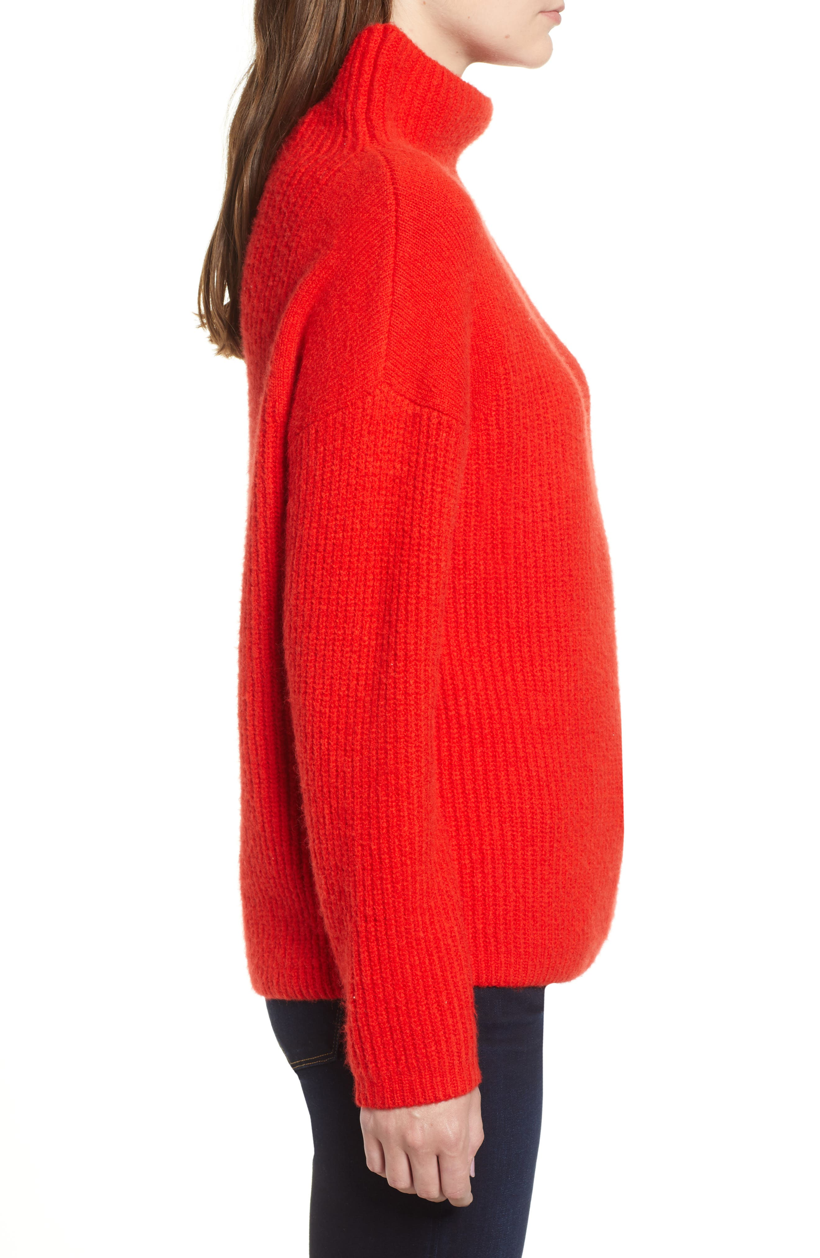 Rib Funnel Neck Sweater,                             Alternate thumbnail 3, color,                             610