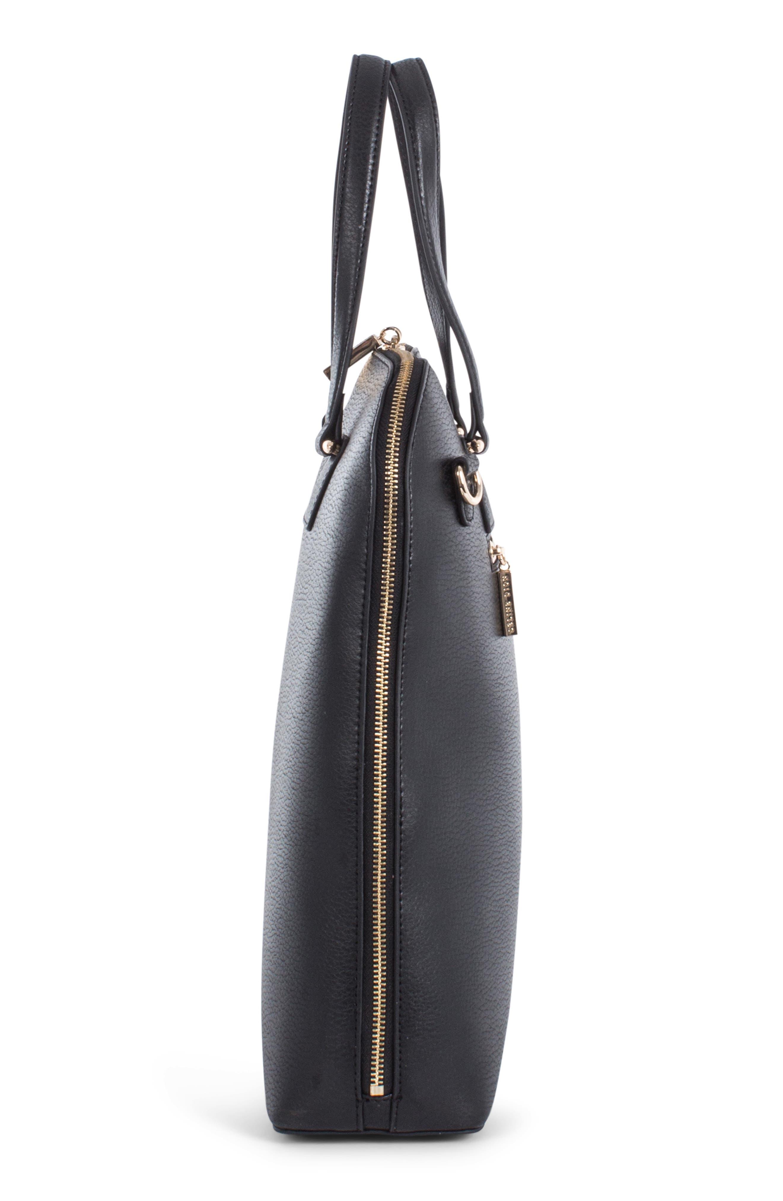 Céline Dion Triad Leather Satchel,                             Alternate thumbnail 7, color,                             BLACK