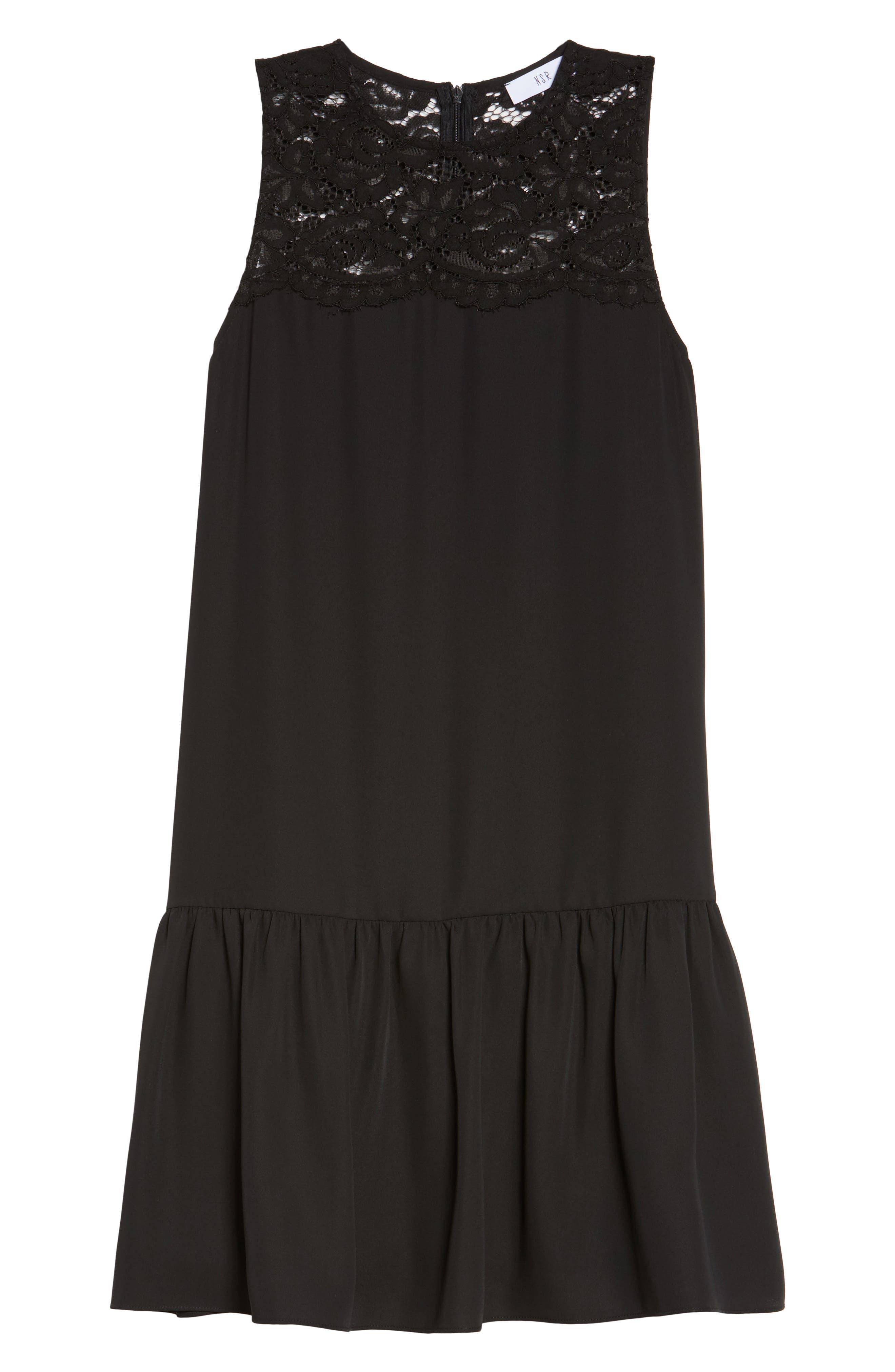 Lace & Crepe Shift Dress,                             Alternate thumbnail 6, color,                             010