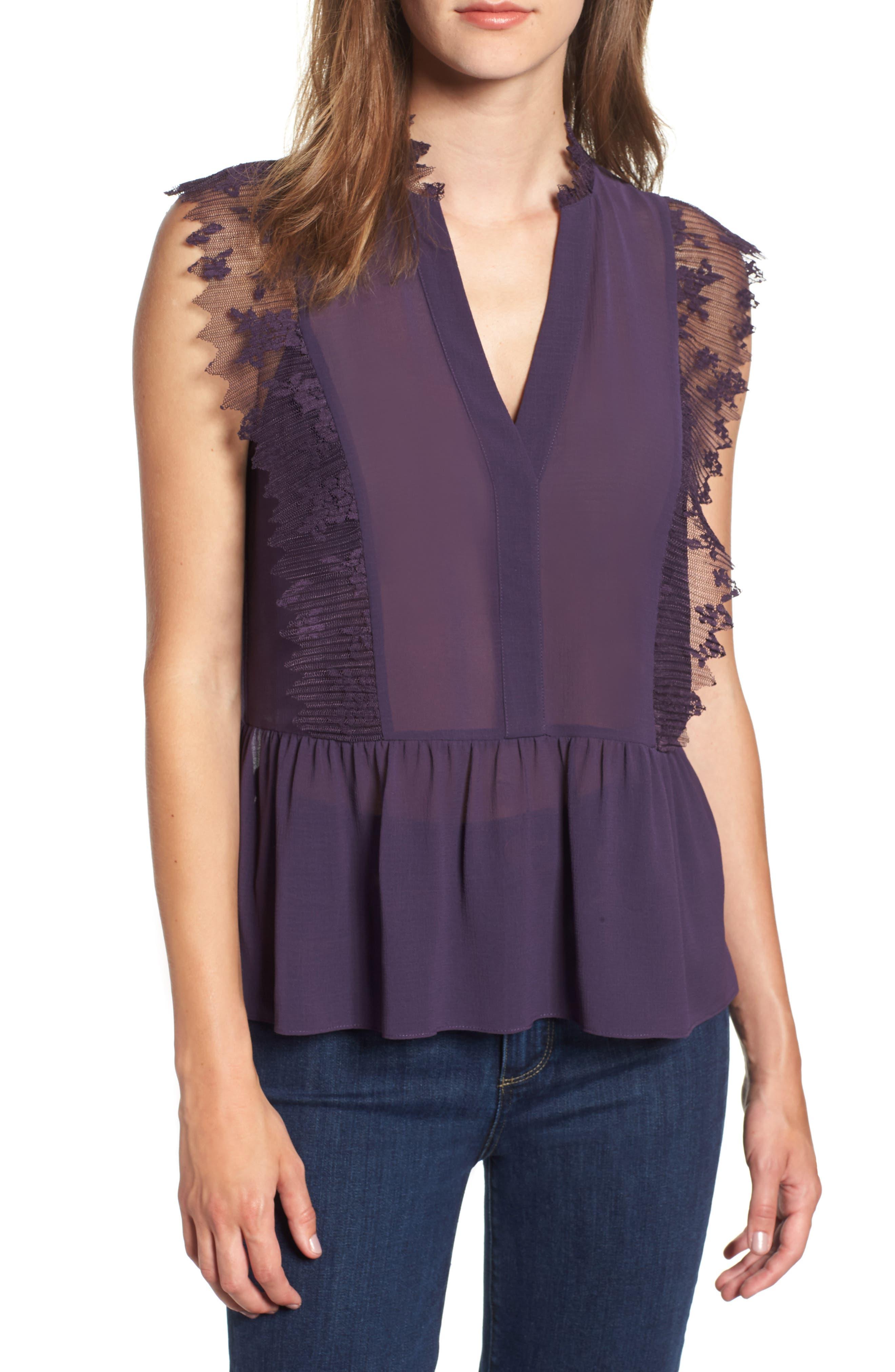 Lace Trim Top,                         Main,                         color, PURPLE NIGHT