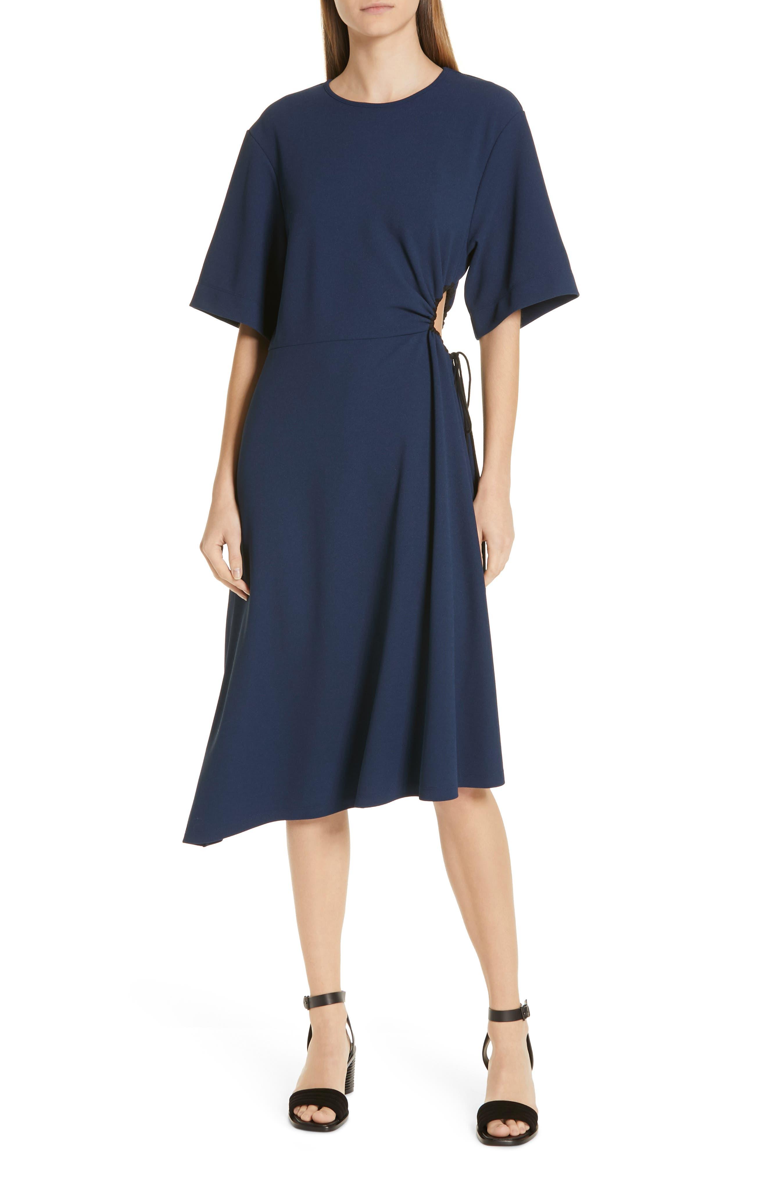 See By Chloe Asymmetrical Tie Cinch Waist Dress, Blue