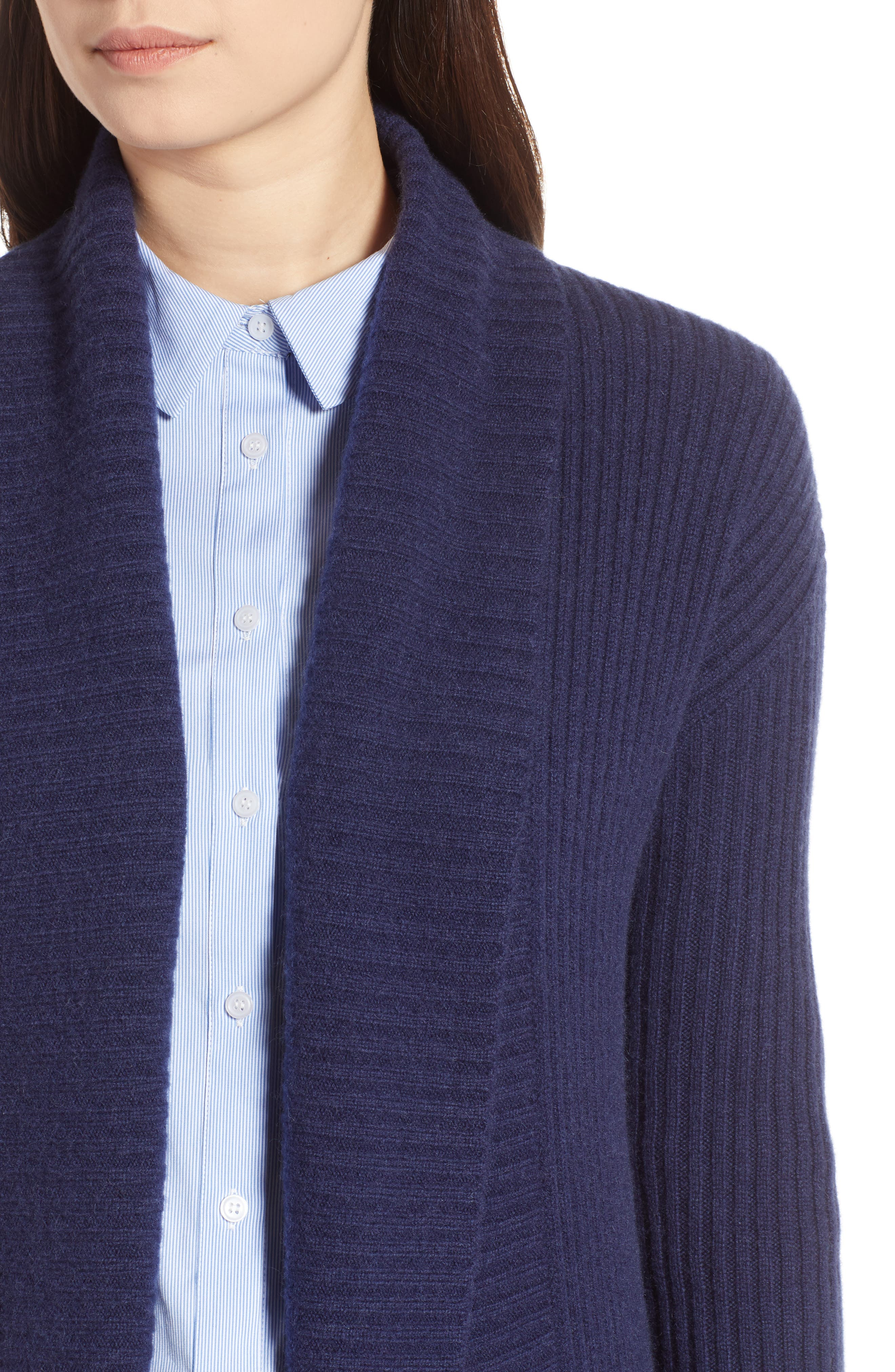 Long Ribbed Cashmere Cardigan,                             Alternate thumbnail 4, color,                             410