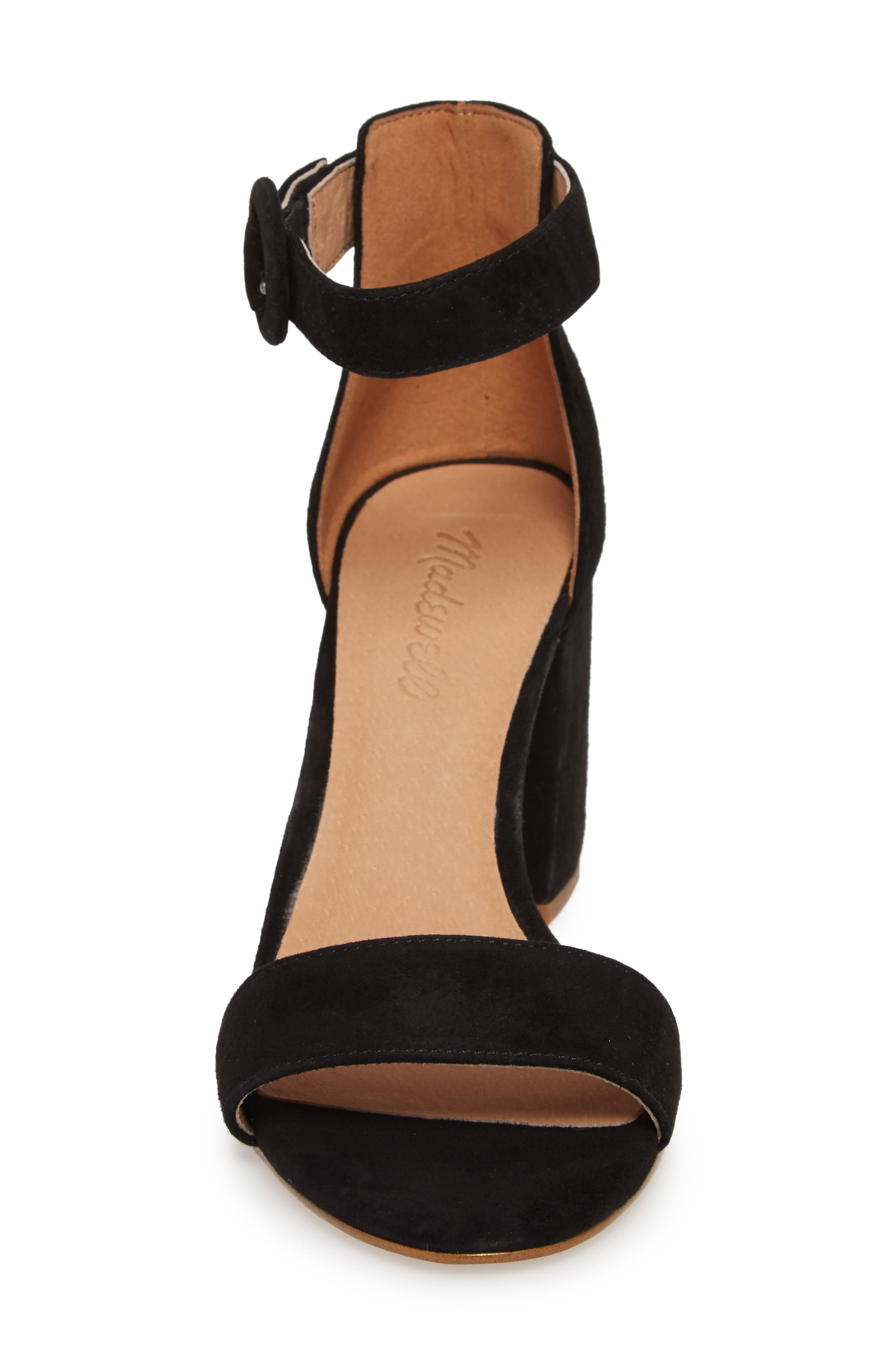 The Regina Ankle Strap Sandal,                             Alternate thumbnail 4, color,                             TRUE BLACK SUEDE