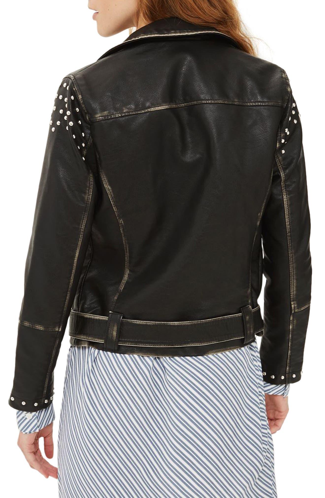 Naomi Studded Faux Leather Biker Jacket,                             Alternate thumbnail 2, color,                             001
