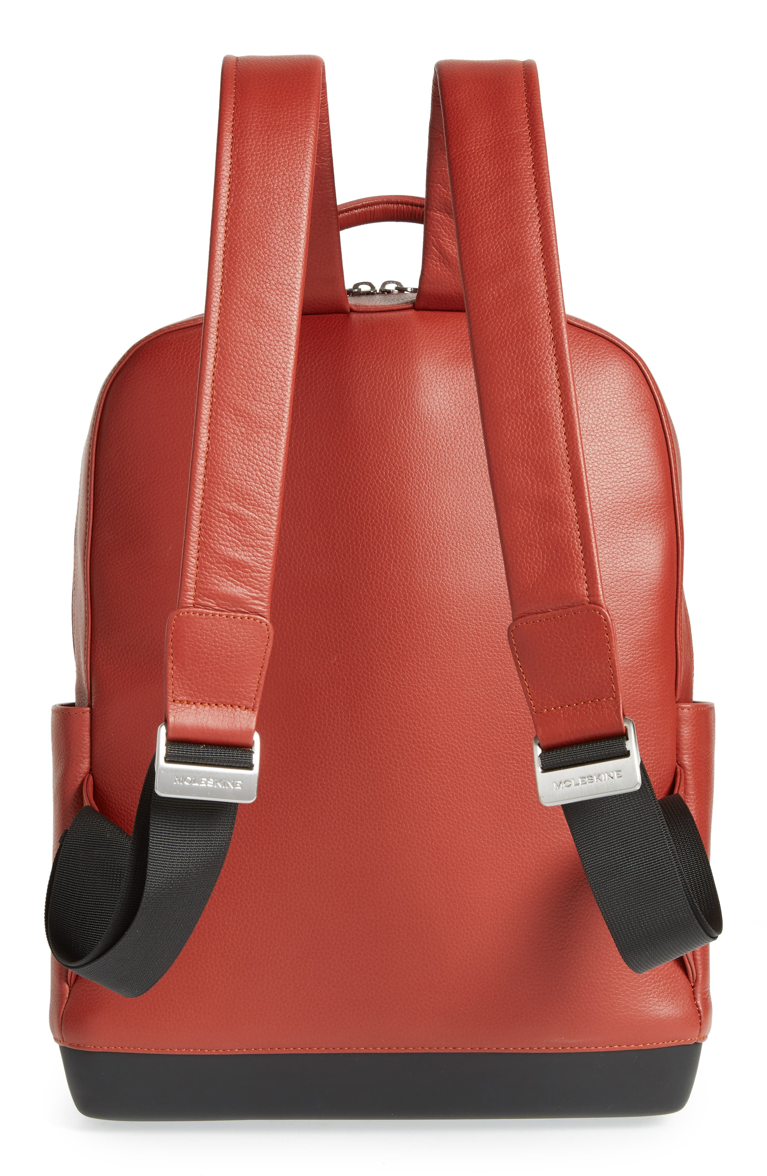 Leather Backpack,                             Alternate thumbnail 3, color,                             TERRACE RED