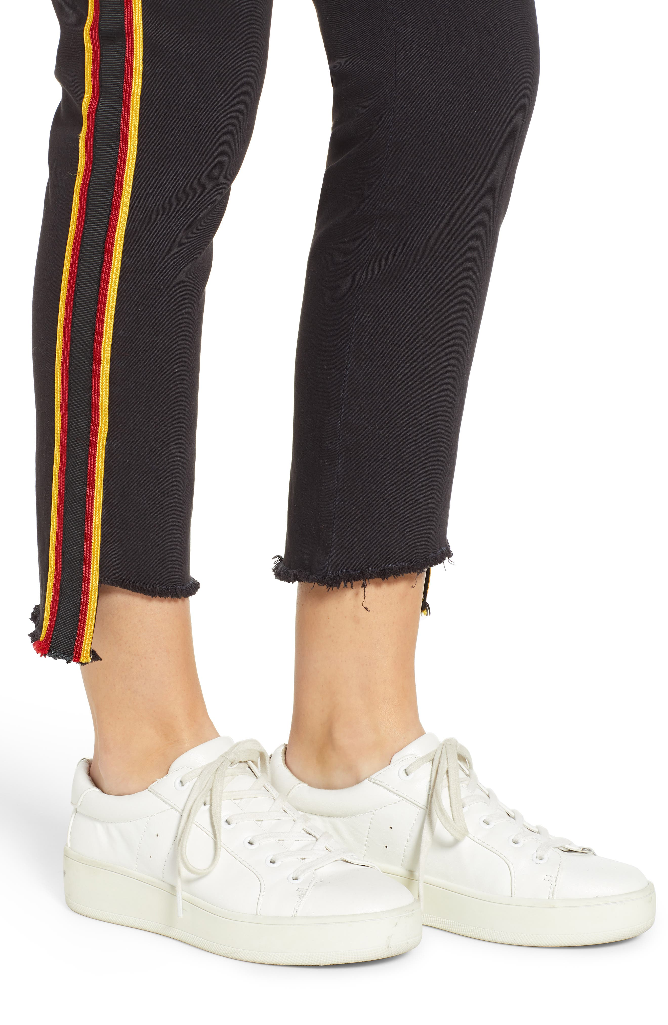 Uniform Stripe Step Hem Pants,                             Alternate thumbnail 4, color,                             VINTAGE BLACK