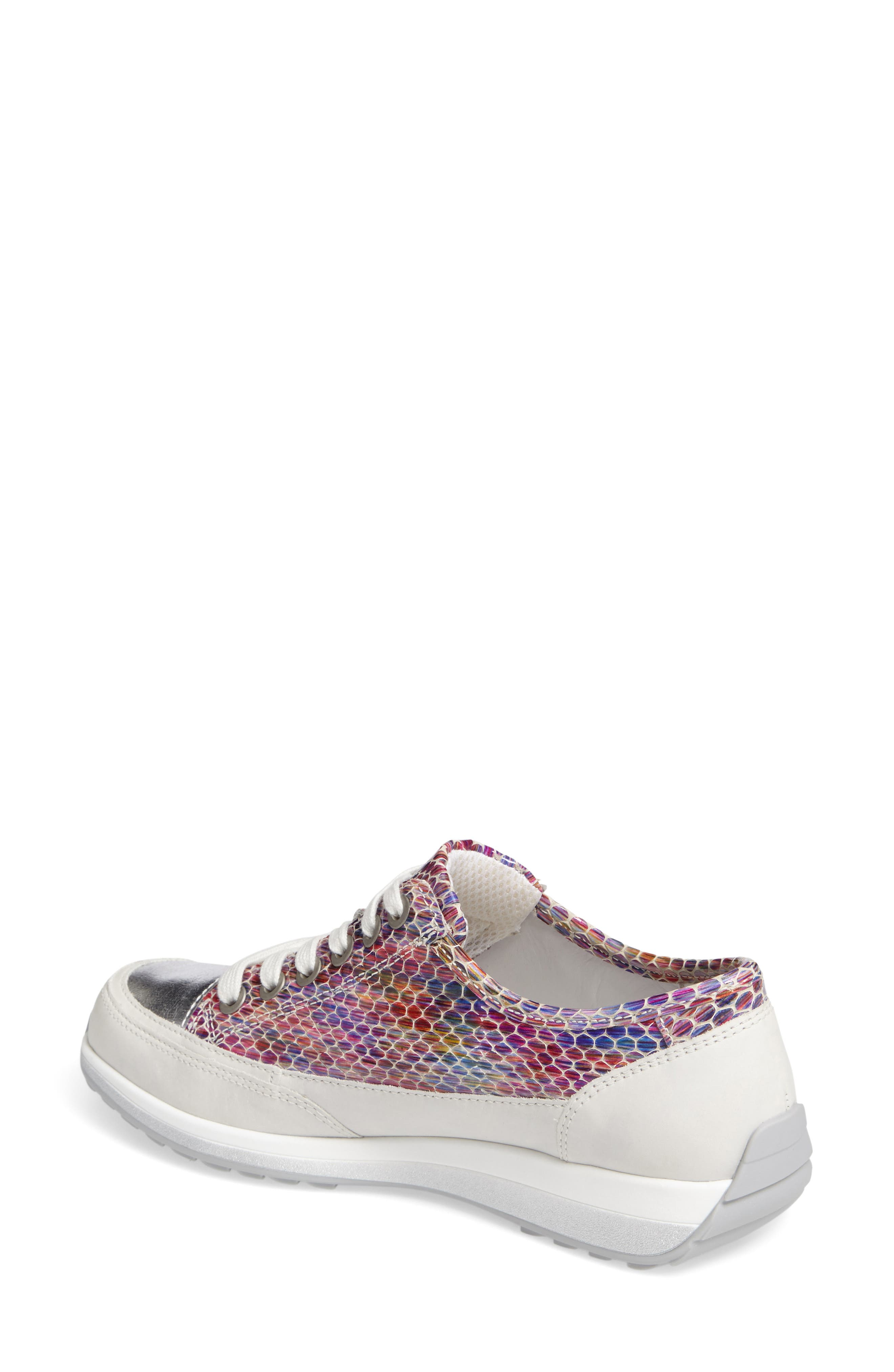 Hermione Sneaker,                             Alternate thumbnail 2, color,                             WHITE MULTI LEATHER