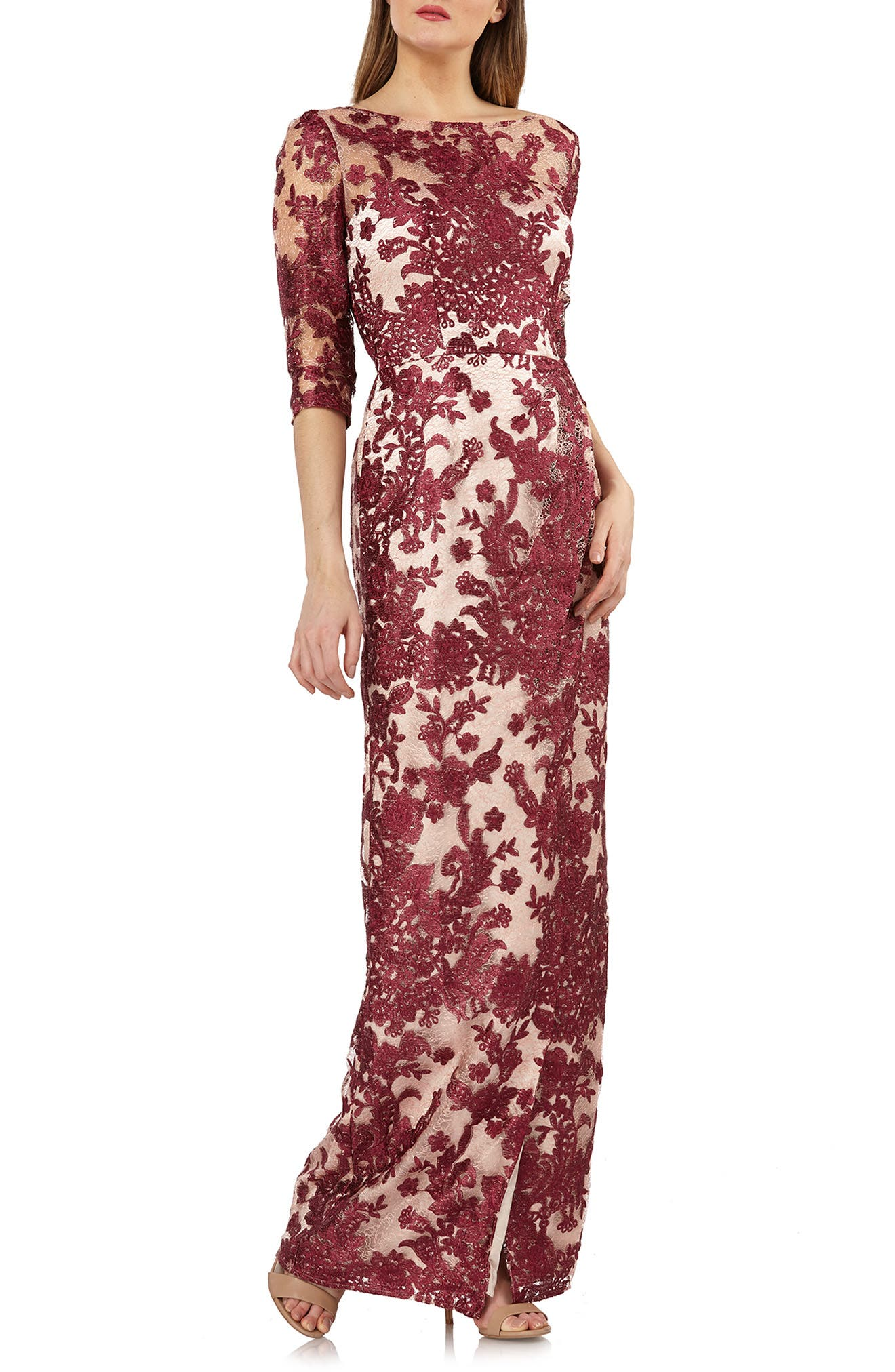 Embroidered Lace Gown,                             Main thumbnail 1, color,                             WINE/ ROSE