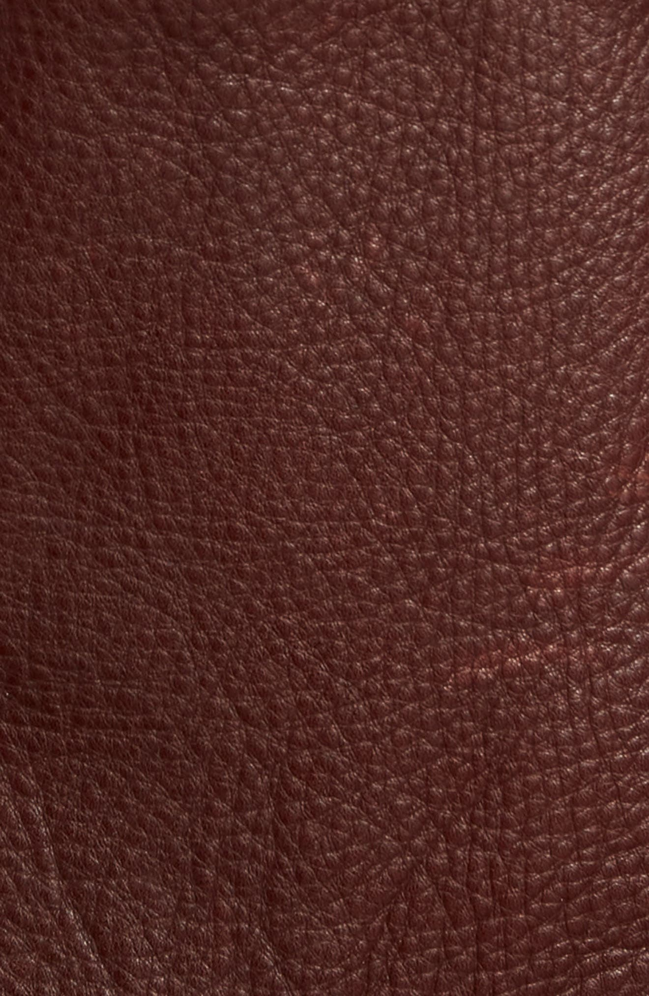 Leather Moto Jacket,                             Alternate thumbnail 6, color,                             DARK CHESTNUT