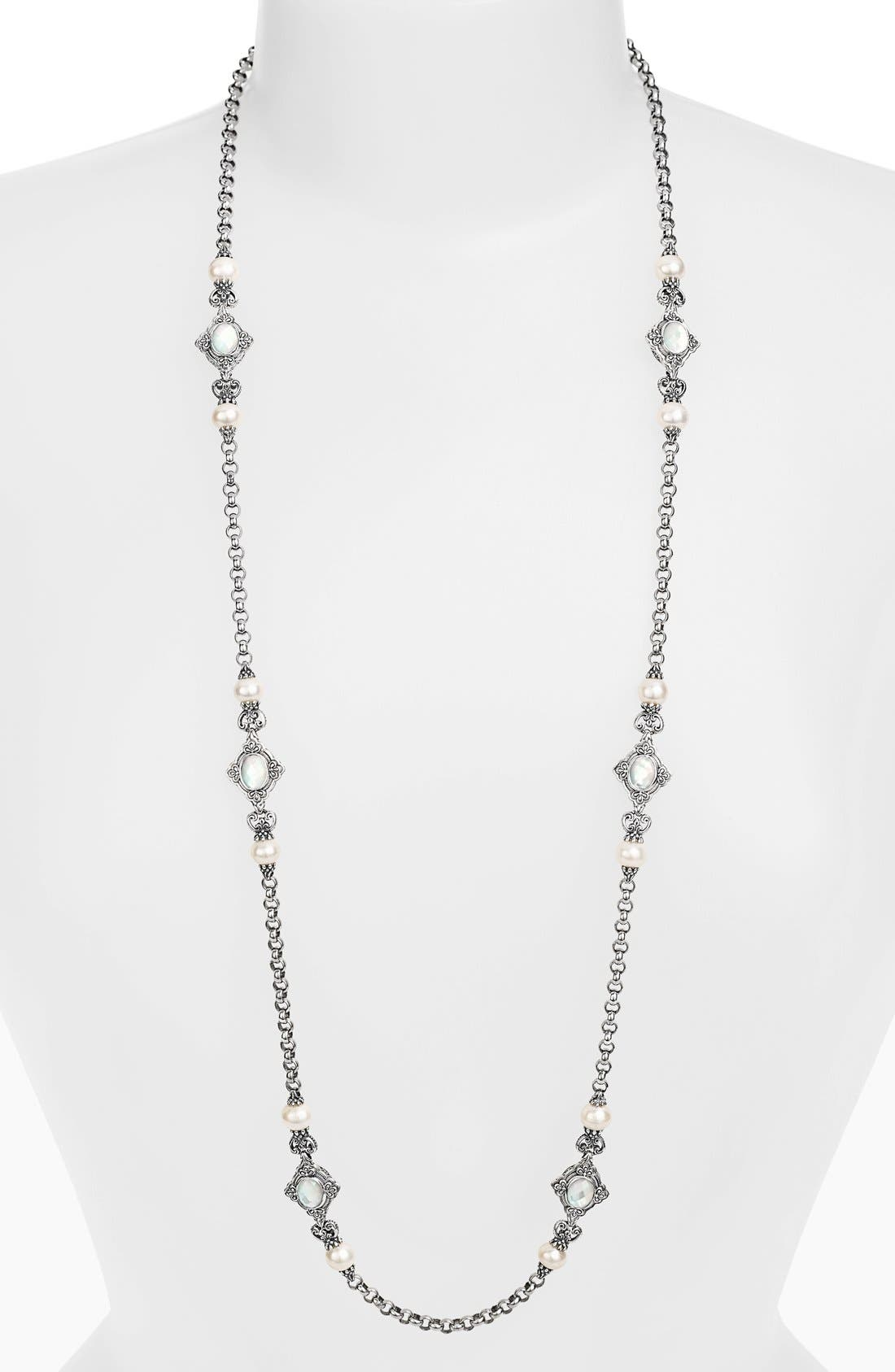 'Selene' Long Station Necklace,                         Main,                         color, SILVER/ GOLD
