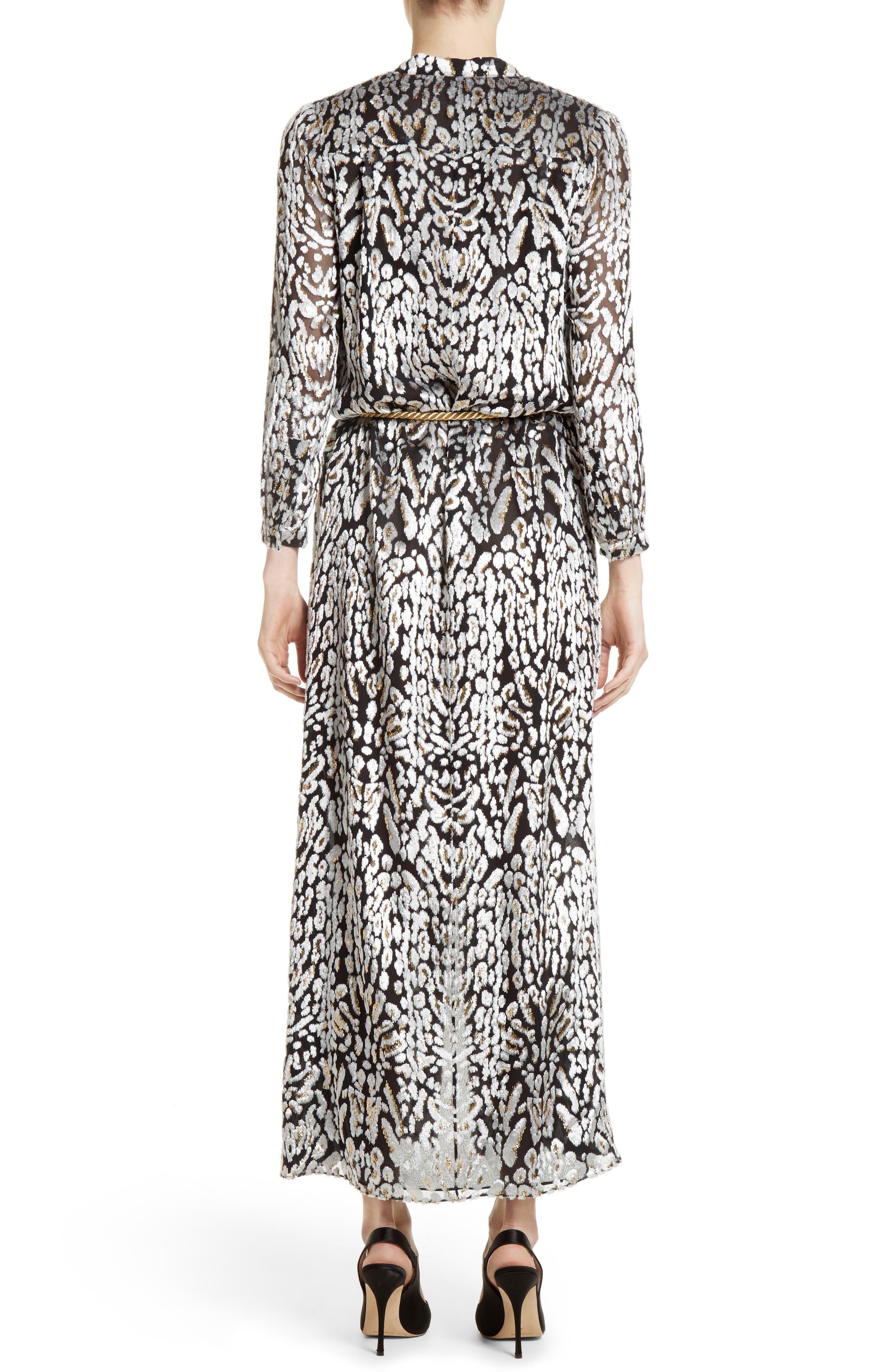 Ocelot Print Velvet Jacquard Dress,                             Alternate thumbnail 2, color,                             001