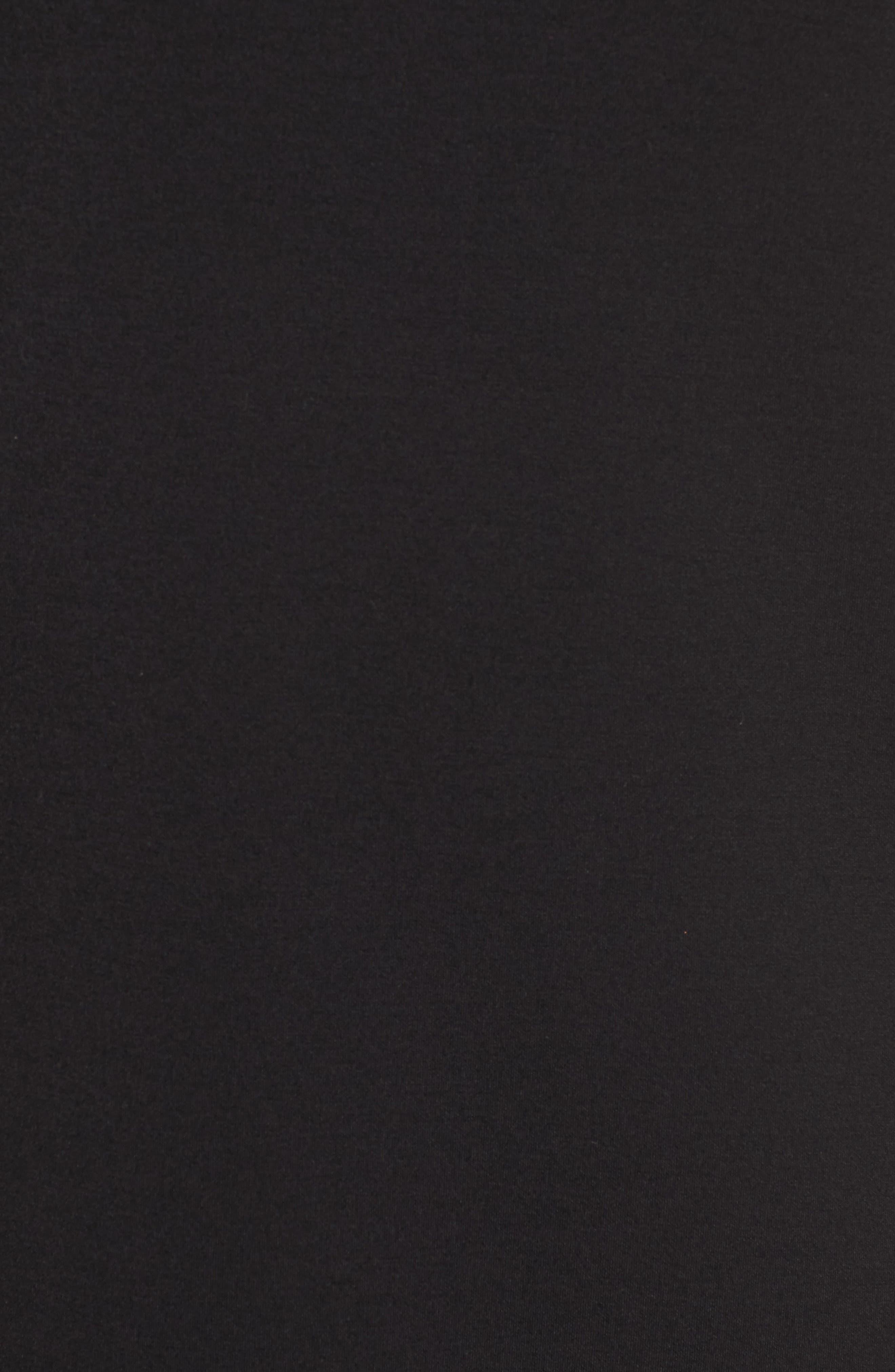 Ruffle Sleeve Neoprene Shift Dress,                             Alternate thumbnail 5, color,                             001