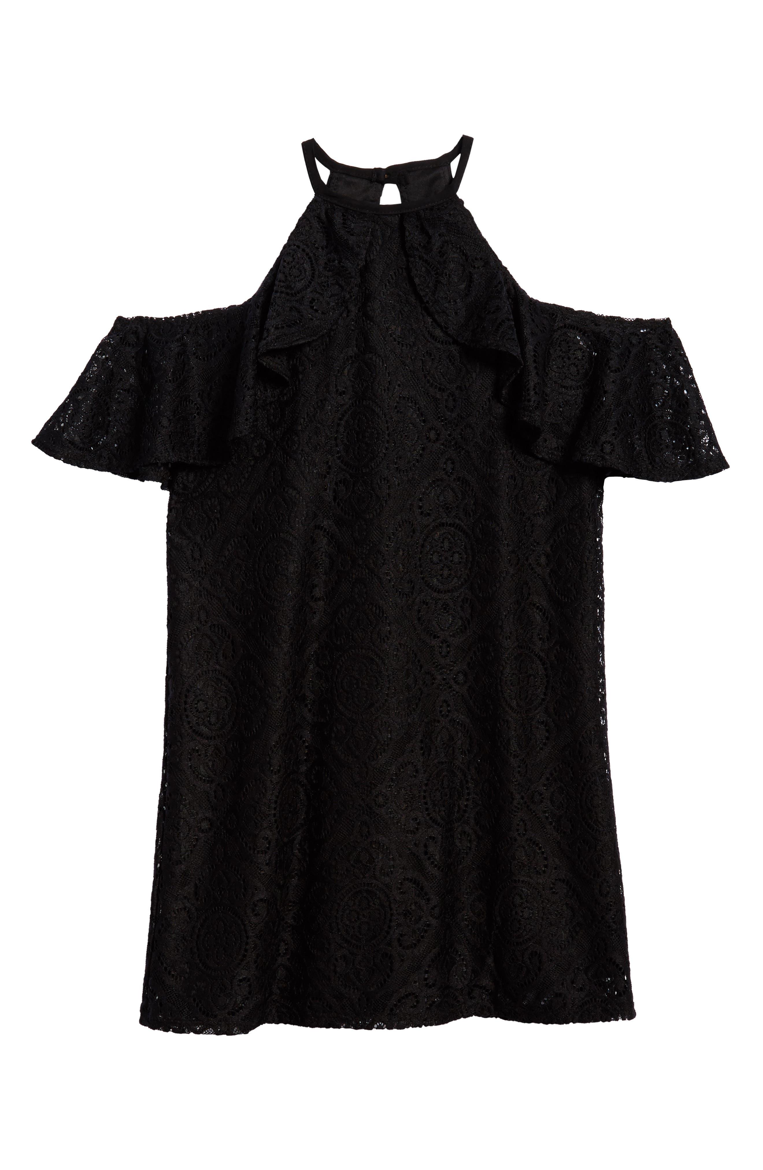 Lace Ruffle Cold Shoulder Dress,                             Main thumbnail 1, color,                             001